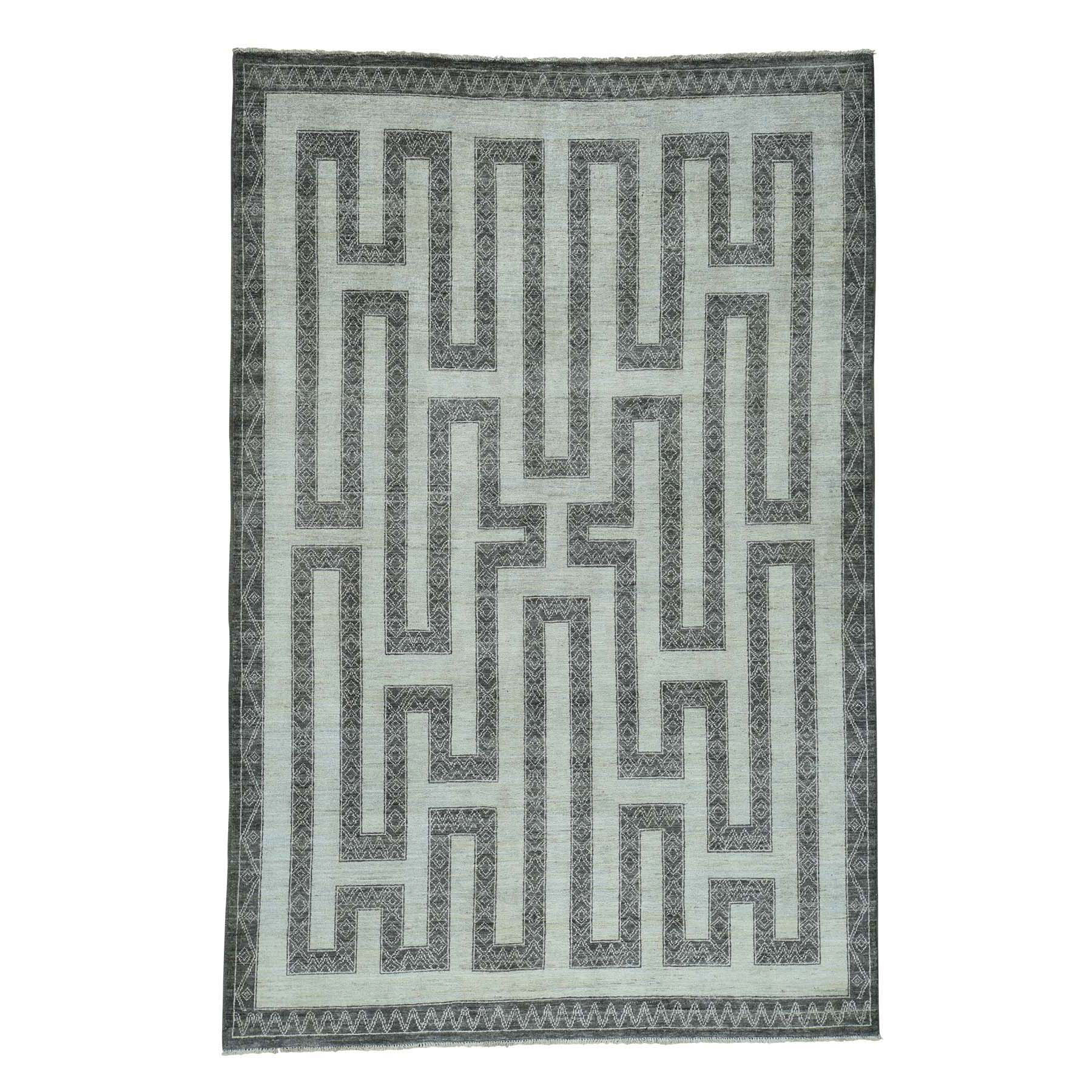 "6'X9'1"" Hand-Knotted Pure Wool Maze Design With Berber Influence Rug moac6d77"