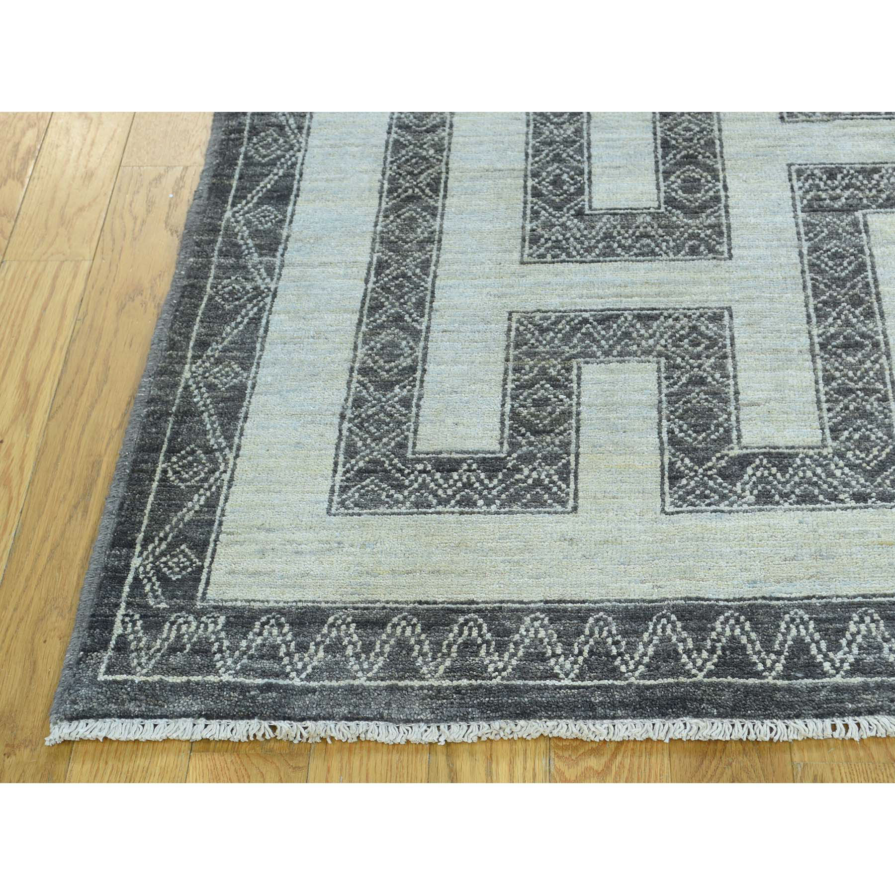 6-x9-1  Hand-Knotted Pure Wool Maze Design with Berber Influence Rug