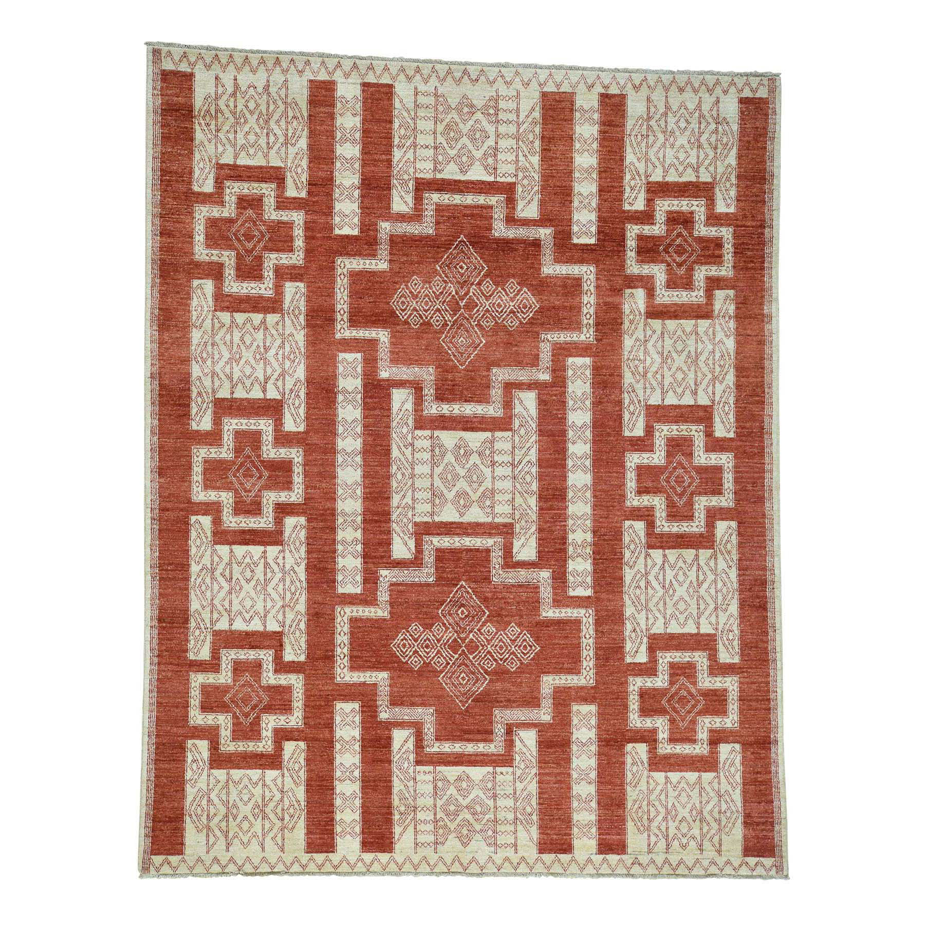 "8'1""X10' Pure Wool Hand-Knotted Peshawar With Southwestern Motifs Rug moac6d88"