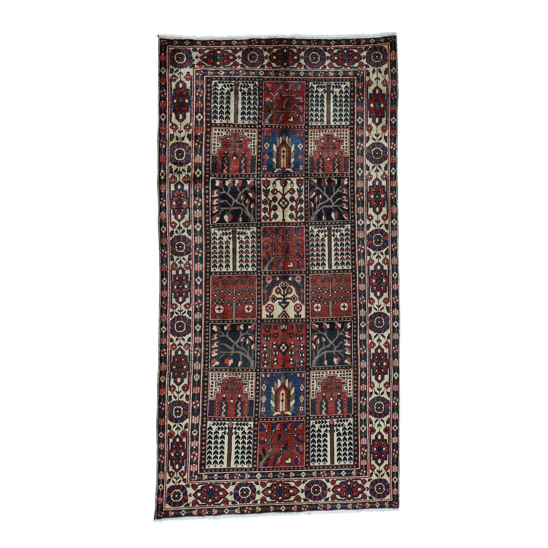 "5'1""X10' Bakhtiari Garden Design Hand-Knotted Pure Wool Wide Runner Rug moac6eab"