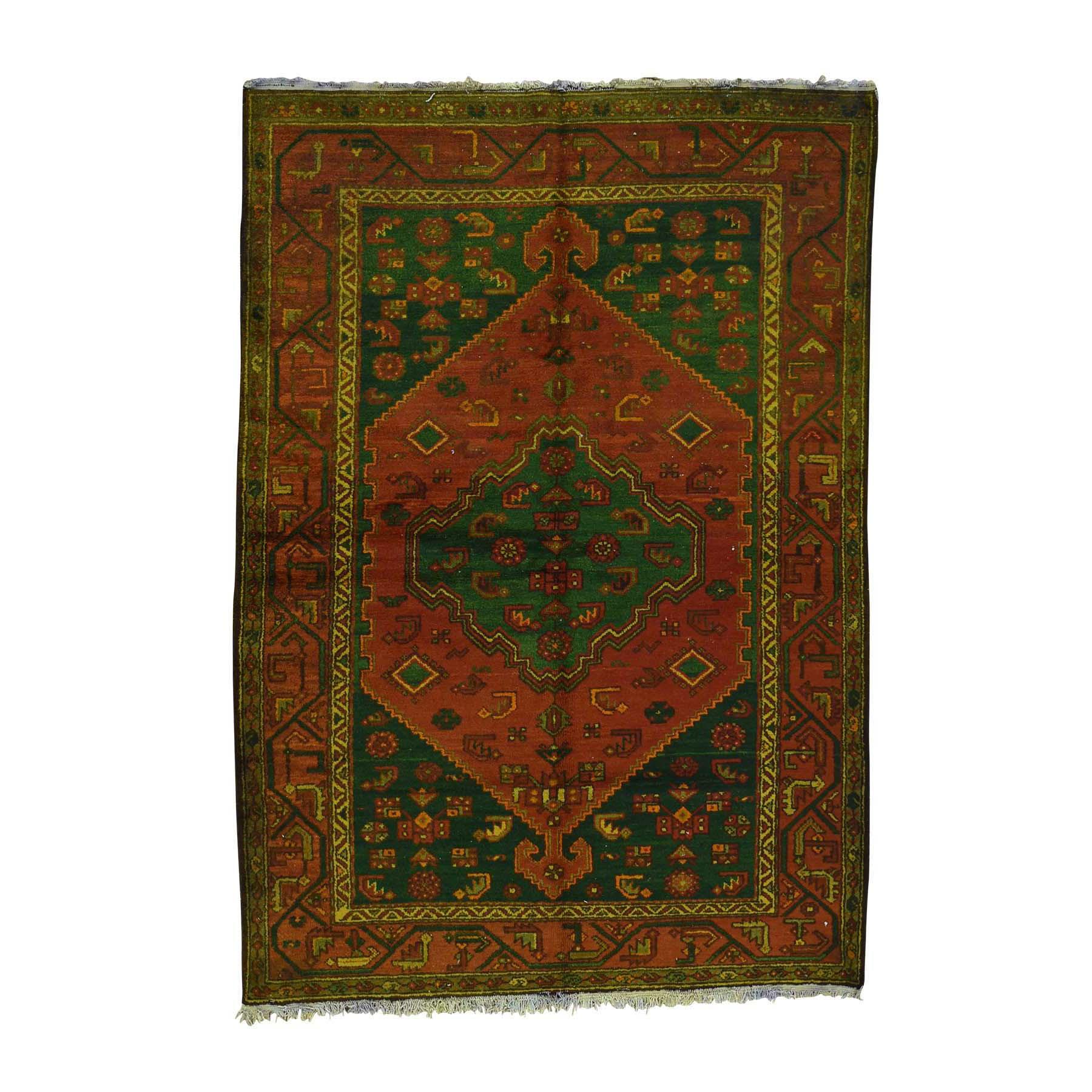 "4'6""X6'5"" Overdyed Persian Hamadan Vintage Pure Wool Handmade Oriental Rug moac6eb0"
