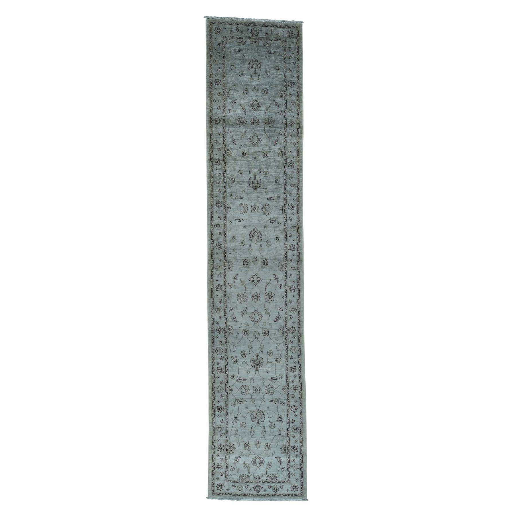 """2'8""""X13' Silver Wash Peshawar Pure Wool Hand-Knotted Runner Rug moac6ebb"""