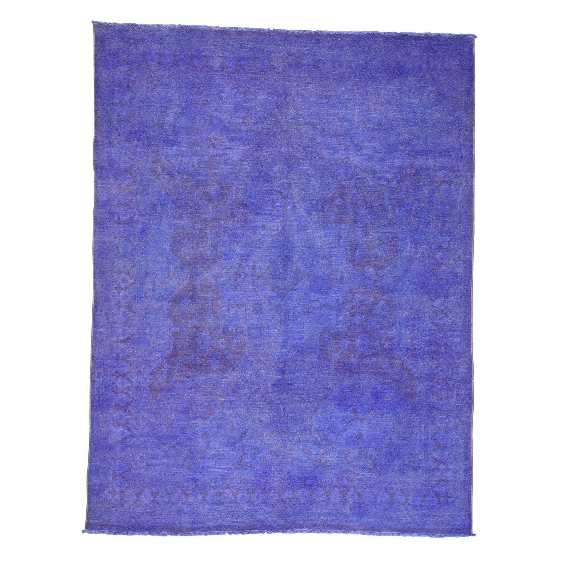 """7'10""""X10'3"""" Overdyed Peshawar Hand-Knotted Pure Wool Oriental Rug moac6ec7"""