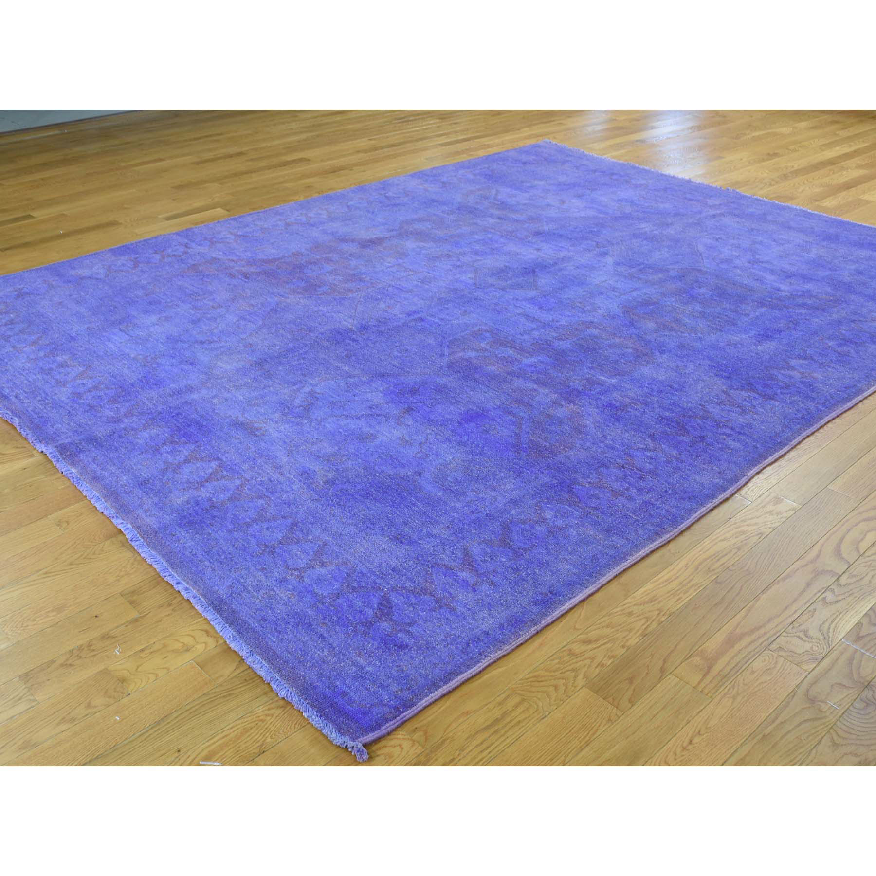 7-10 x10-3  Overdyed Peshawar Hand-Knotted Pure Wool Oriental Rug
