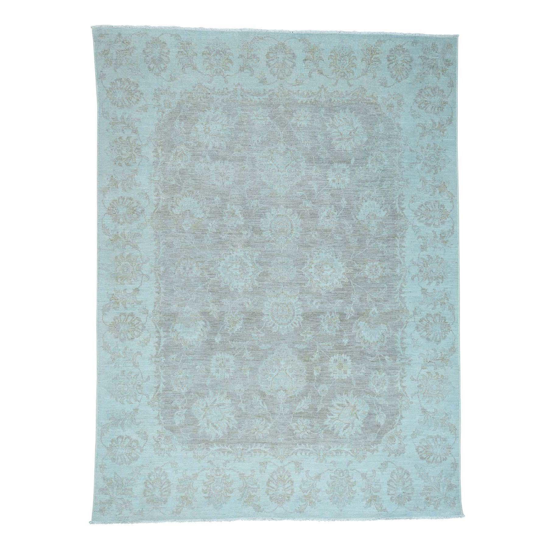 "7'10""X10'5"" Peshawar White Wash Hand-Knotted Pure Wool Oriental Rug moac6e8b"