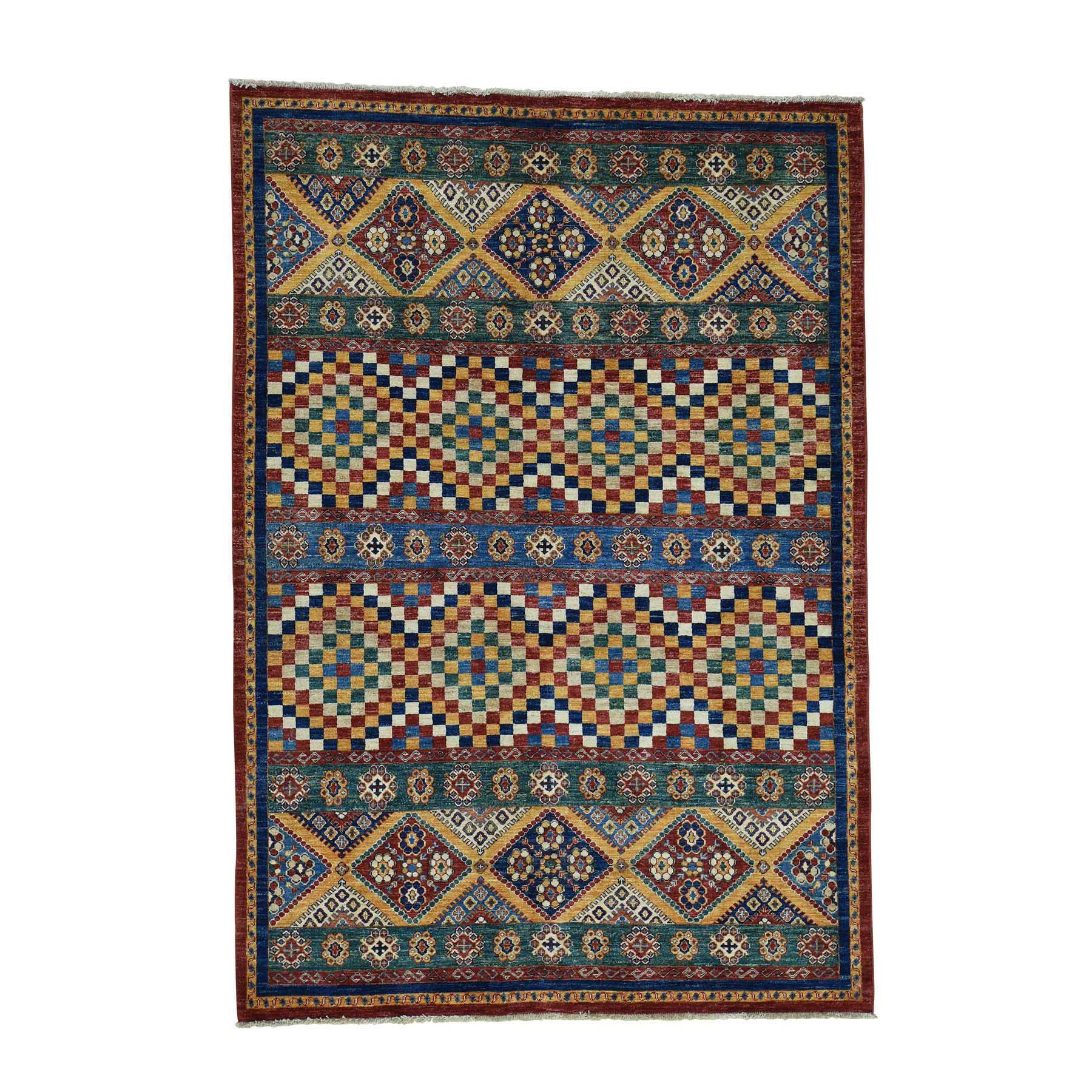"5'7""X8' Super Kazak Khorjin Hand-Knotted Pure Wool Oriental Rug moac6609"