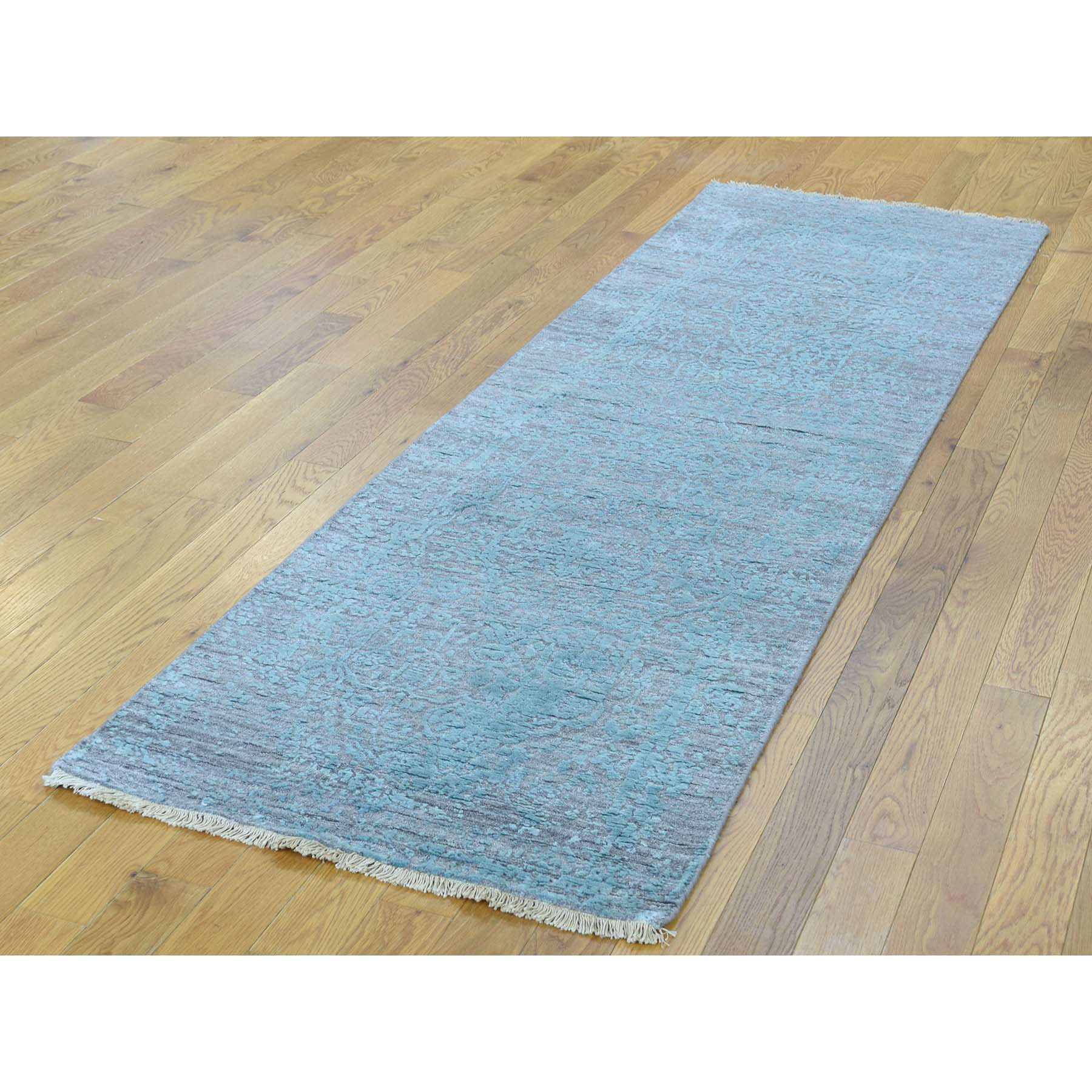 "2'7""x9'9"" Broken Persian Design Hand-Knotted Wool and Silk Runner Rug"