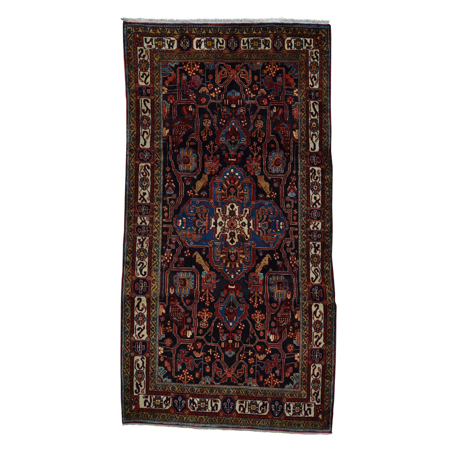 "5'3""X10'3"" Hand-Knotted Pure Wool Persian Nahavand Wide Runner Rug moac6707"