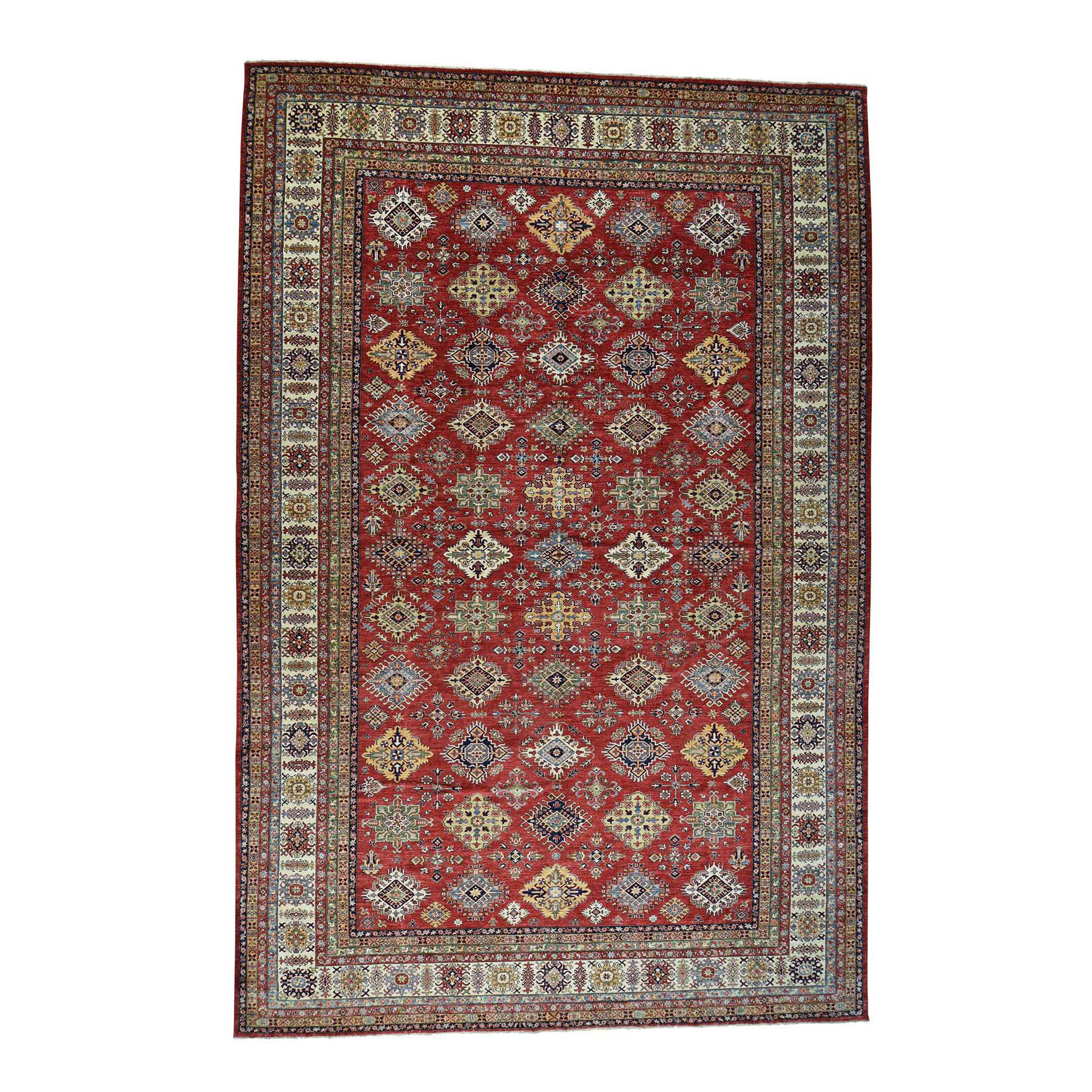"13'1""x19'10"" Oversize Hand-Knotted Pure Wool Super Kazak Oriental Rug"