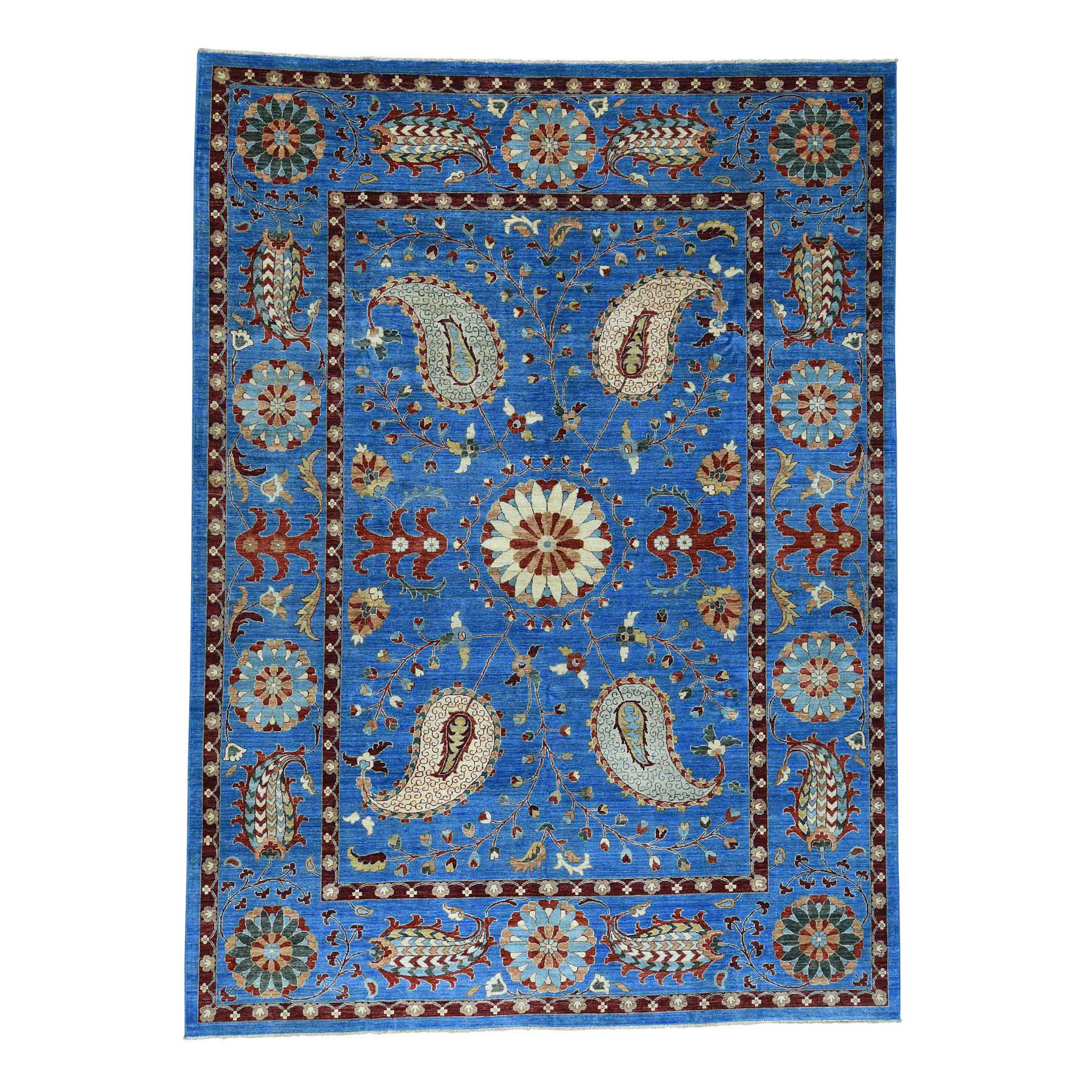 "10'1""x13'9"" Hand-Knotted Pure Wool Peshawar Suzani Design Oriental Rug"