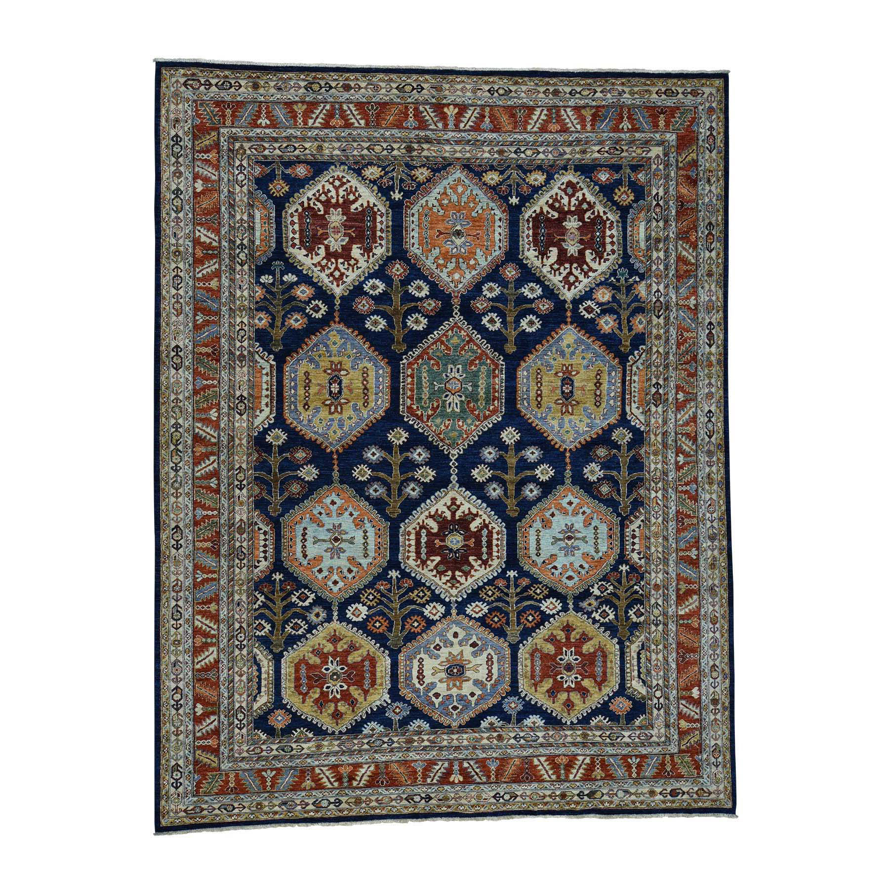 "9'1""X11'10"" Peshawar Antiqued Heriz Hand-Knotted Pure Wool Oriental Rug moac68ac"