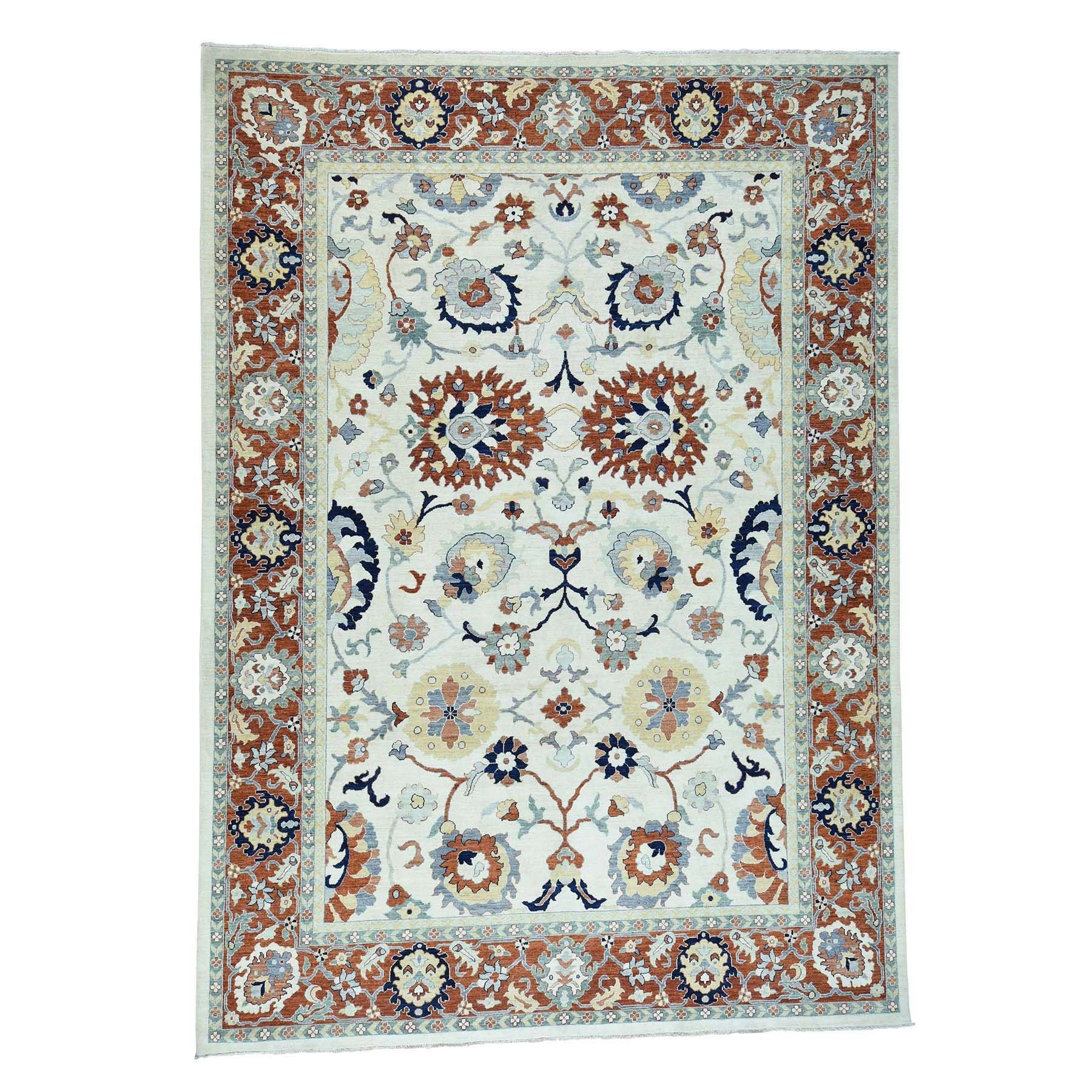 """9'1""""X12'1"""" Peshawar Sultanabad Design Hand-Knotted Pure Wool Oriental Rug moac68ad"""