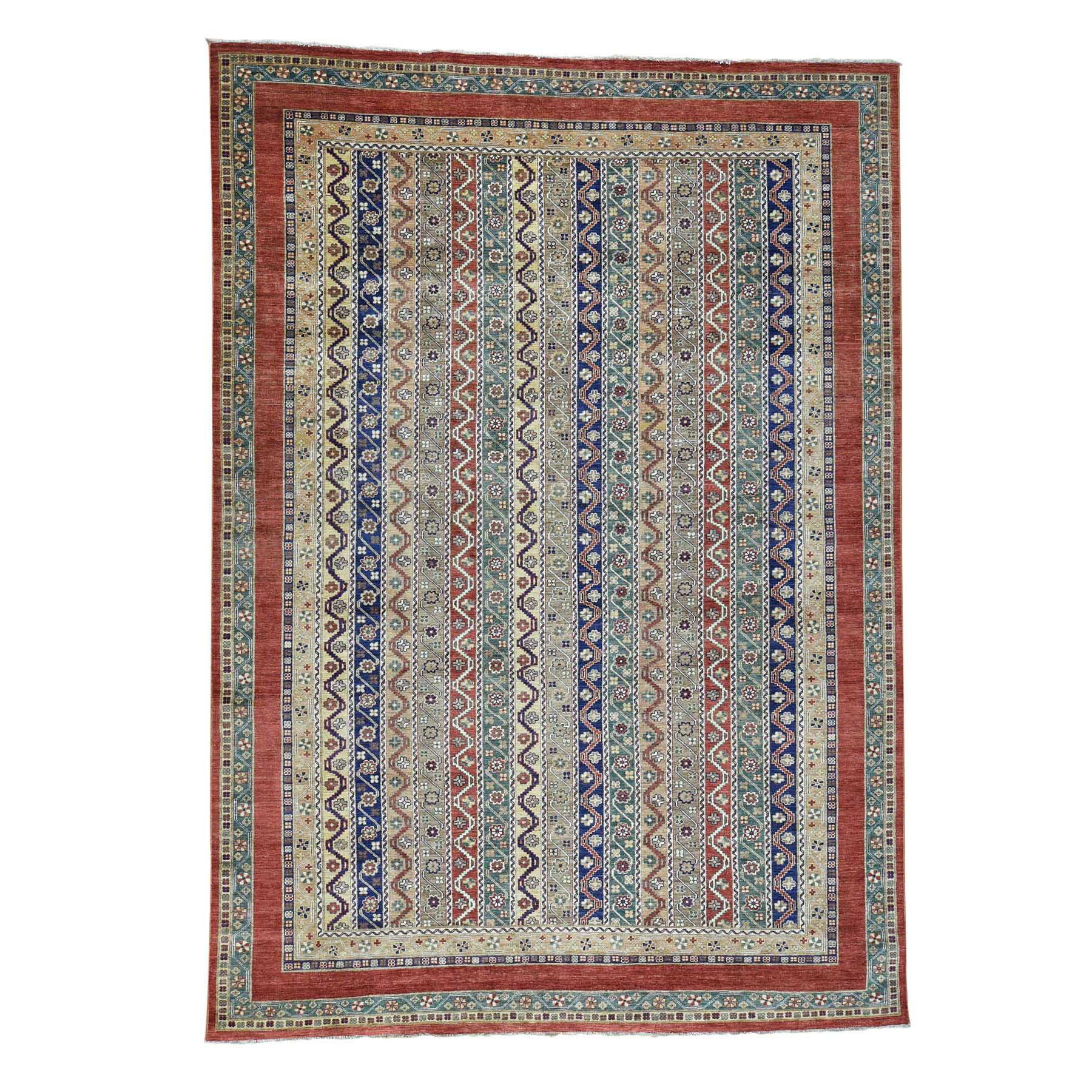 "10'X13'9"" Super Kazak Khorjin Shawl Design Hand-Knotted Pure Wool Rug moac686b"