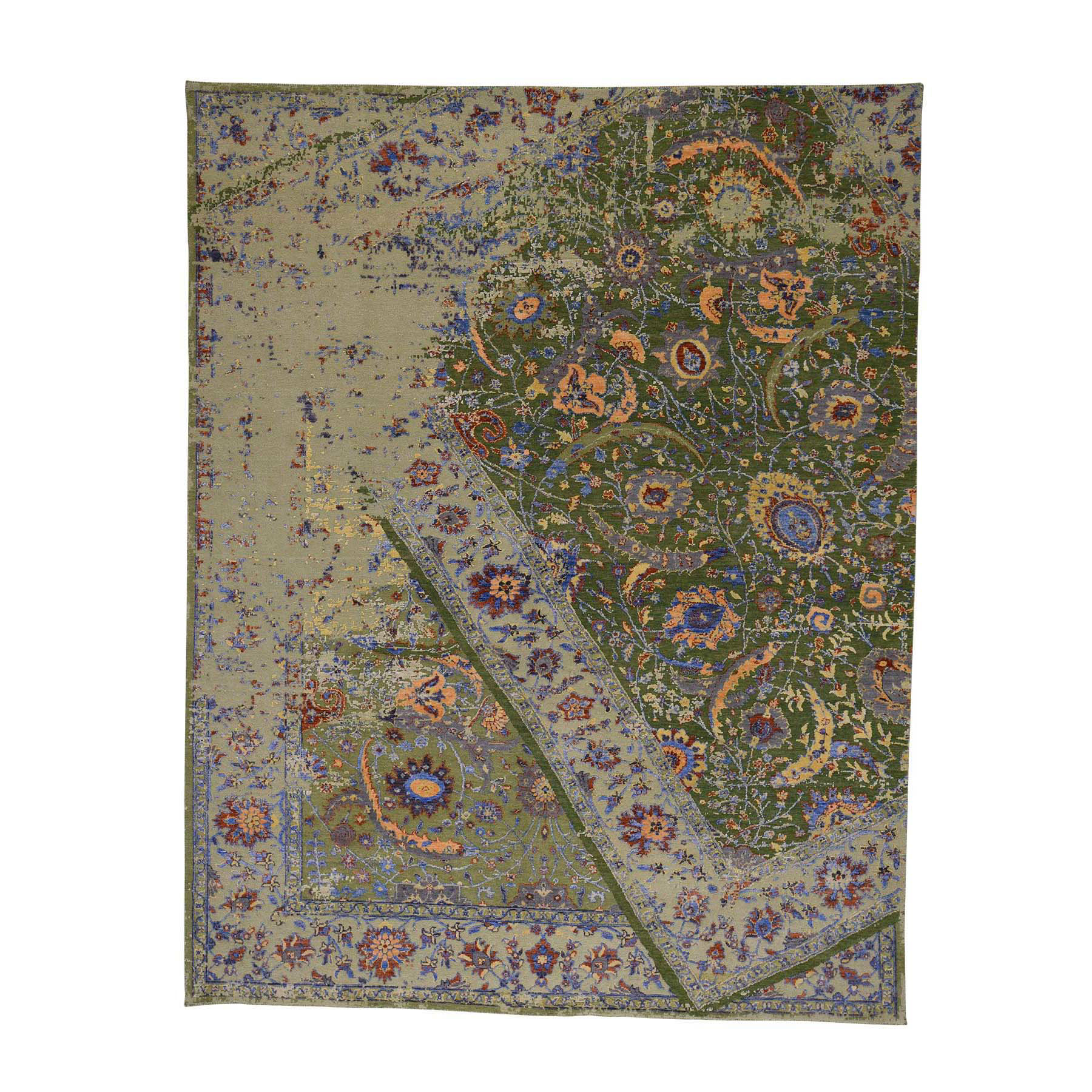 "7'9""x9'10"" Silk and Textured Wool Broken Persian Tabriz Design Rug"