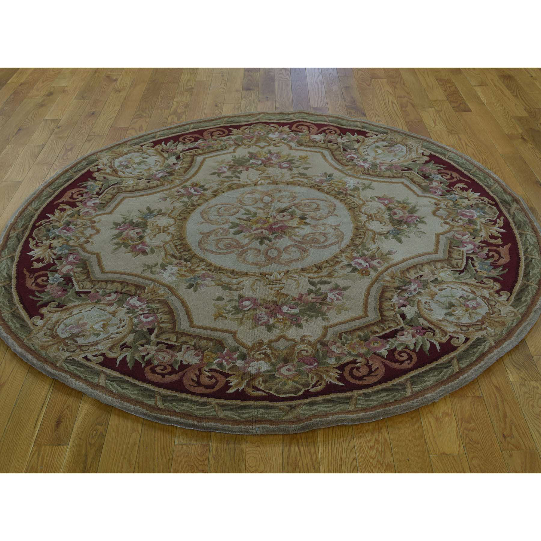 6'x6' Round Louis Phillippe Design Savonnerie Thick And Plush Rug