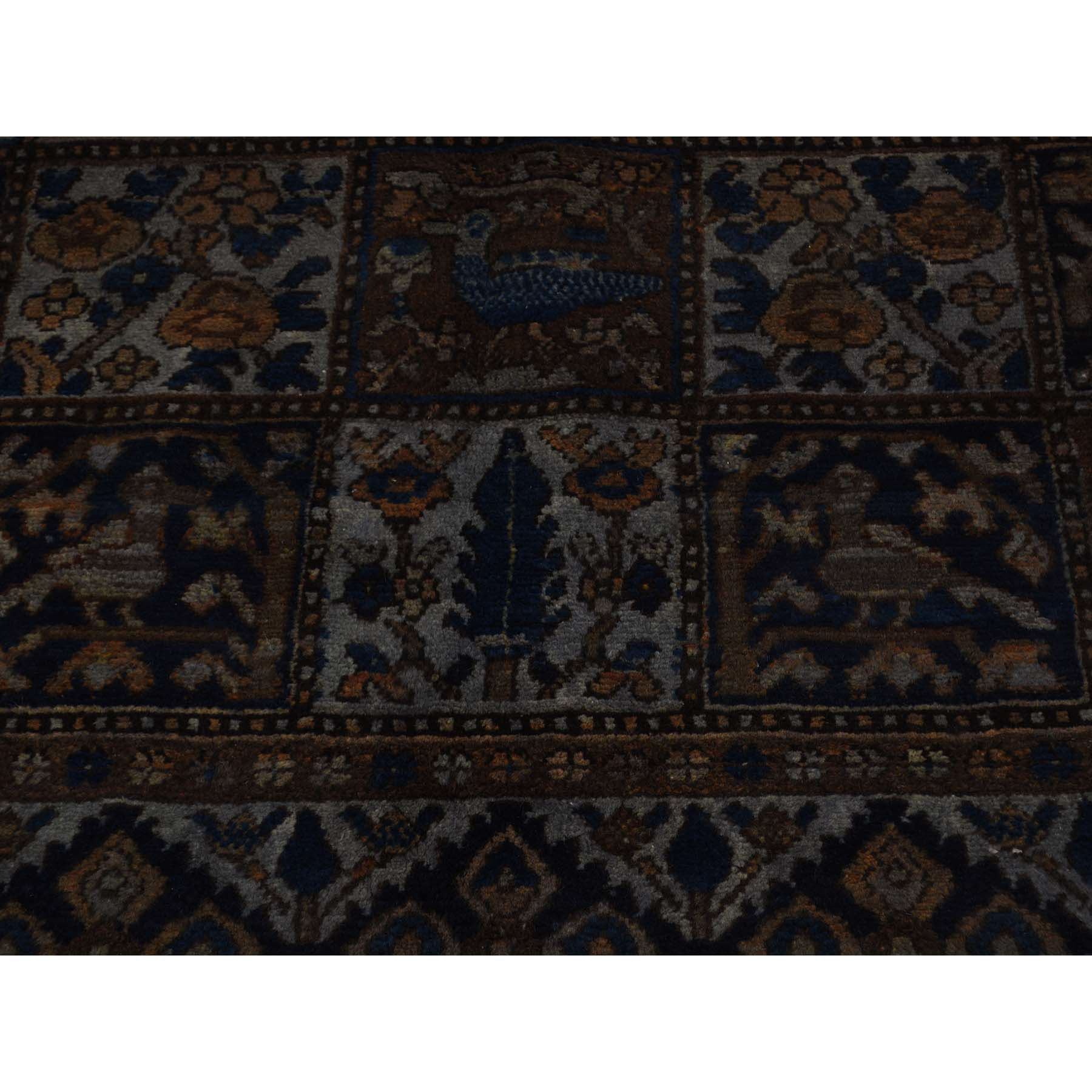 5-2 x9-5  Hand-Knotted Wool Persian Bakhtiari Overdyed Wide Runner Rug