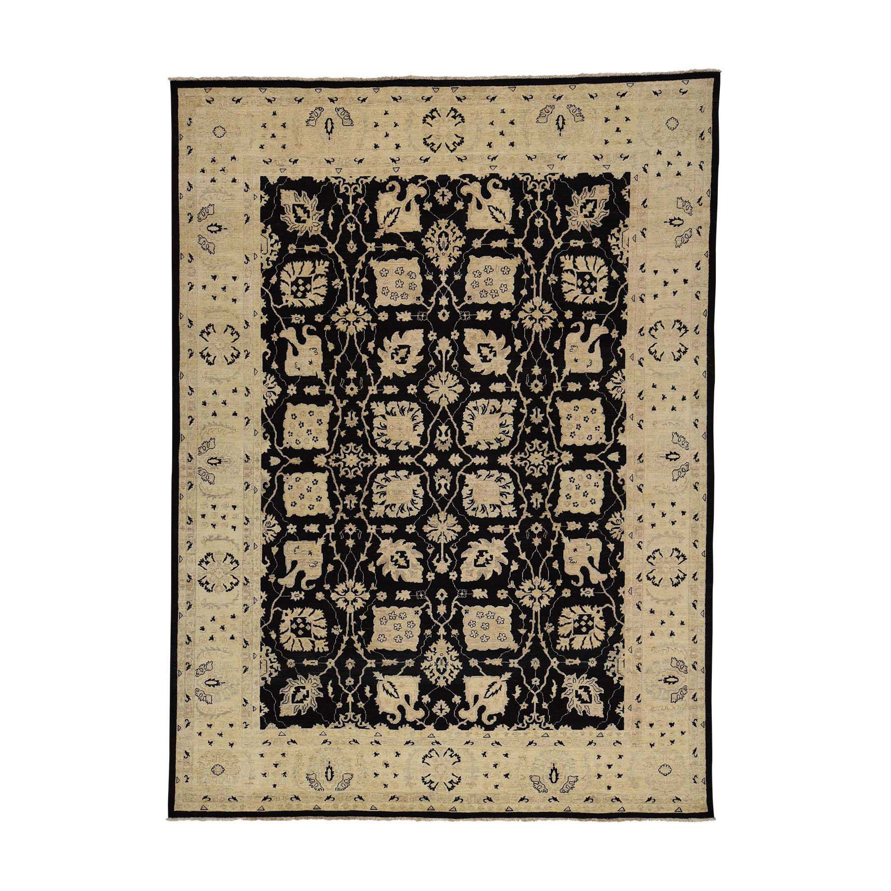 "8'10""X12' Black Hand-Knotted Pure Wool Peshawar Oriental Rug moac69ca"