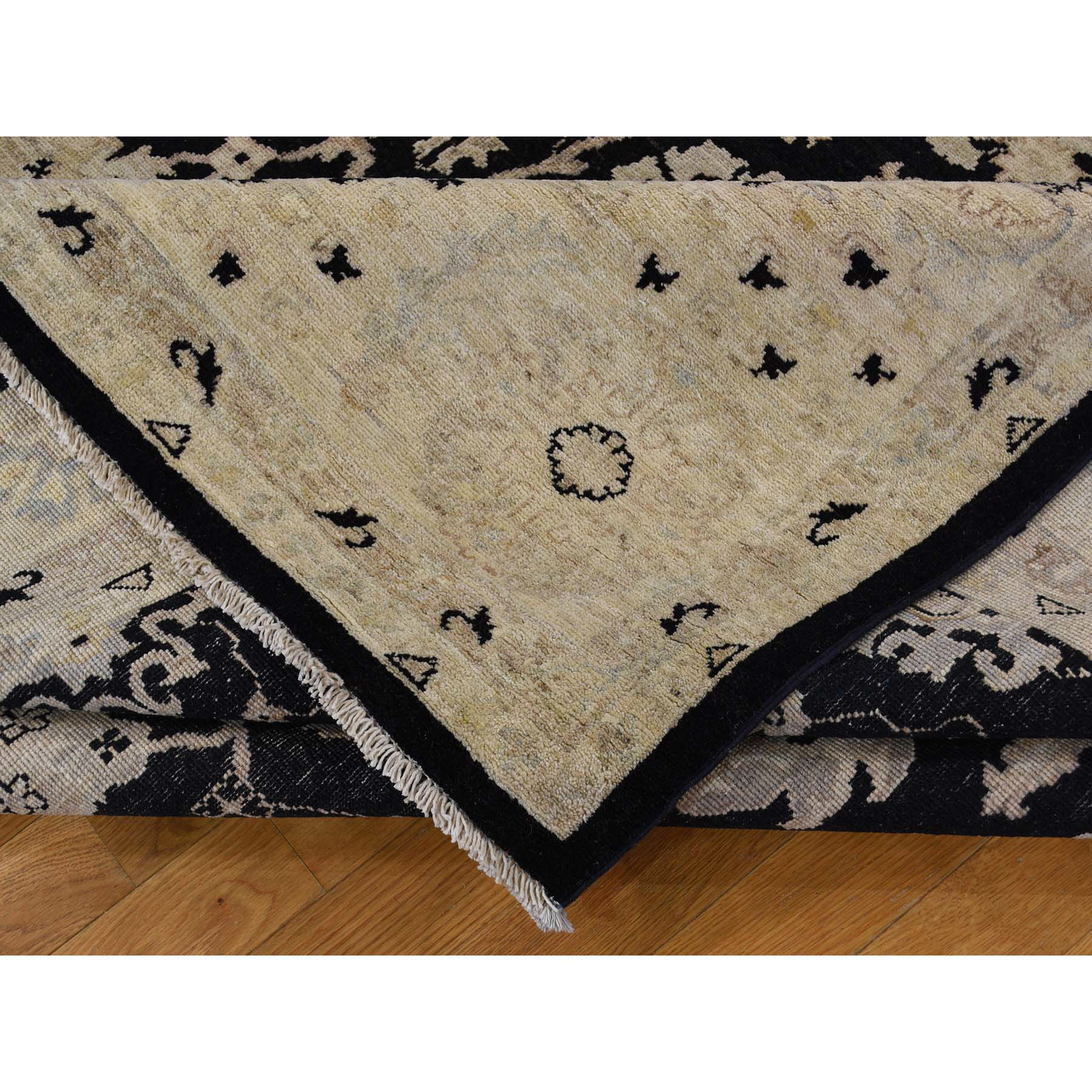 8-10 x12- Black Hand-Knotted Pure Wool Peshawar Oriental Rug