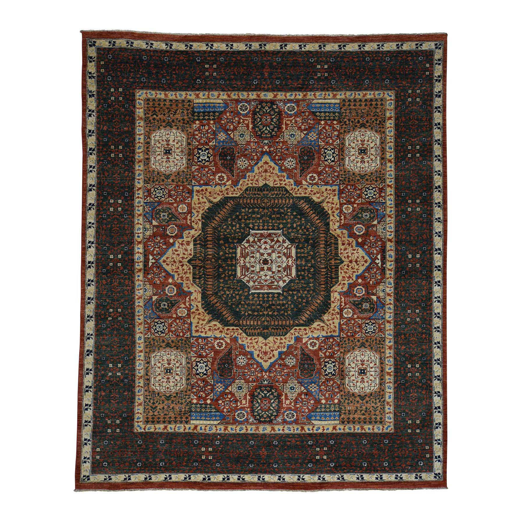 "8'1""X10' Peshawar With Mamluk Design Hand-Knotted Pure Wool Oriental Rug moac69ce"