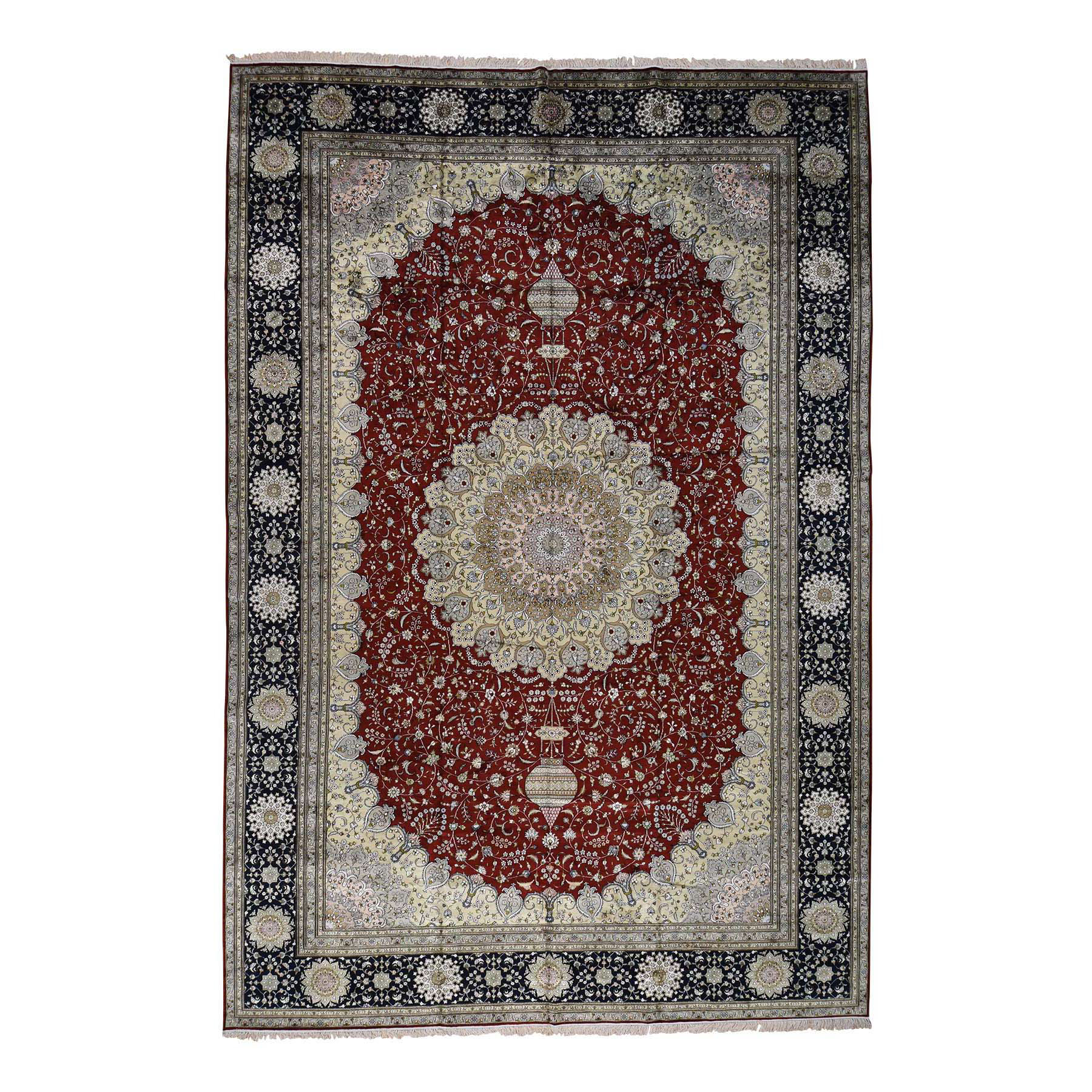 12'X18' Silken Kashan 250 Kpsi Oversize Hand-Knotted Oriental Rug moac699c
