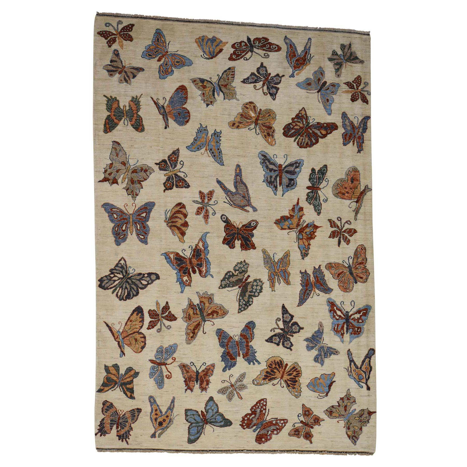 "6'1""X9'2"" Hand-Knotted Pure Wool Butterflies Design Oriental Rug moac700d"