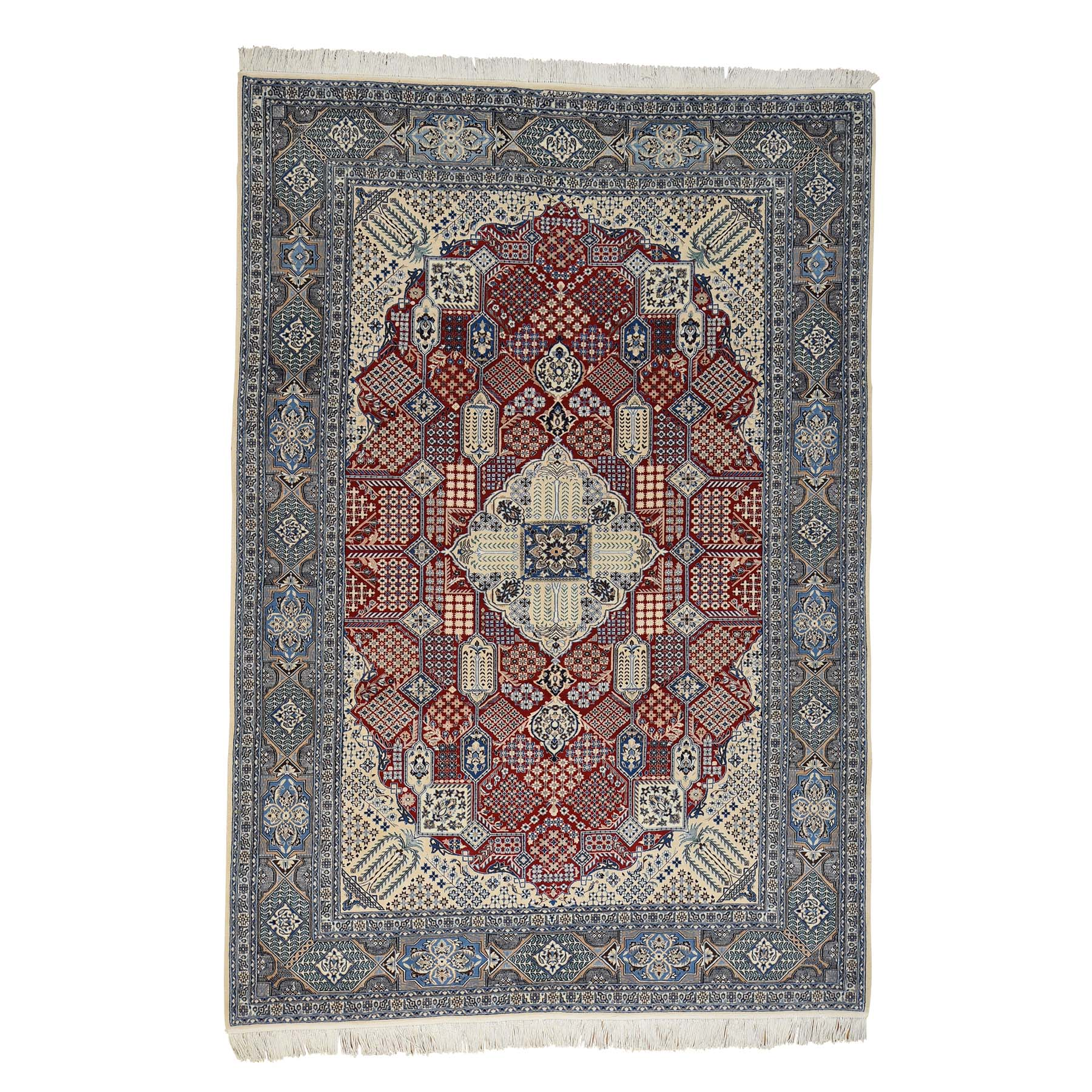 "7'3""X10'9"" Persian Nain 250 Kpsi Wool And Silk Hand-Knotted Oriental Rug moac70dc"