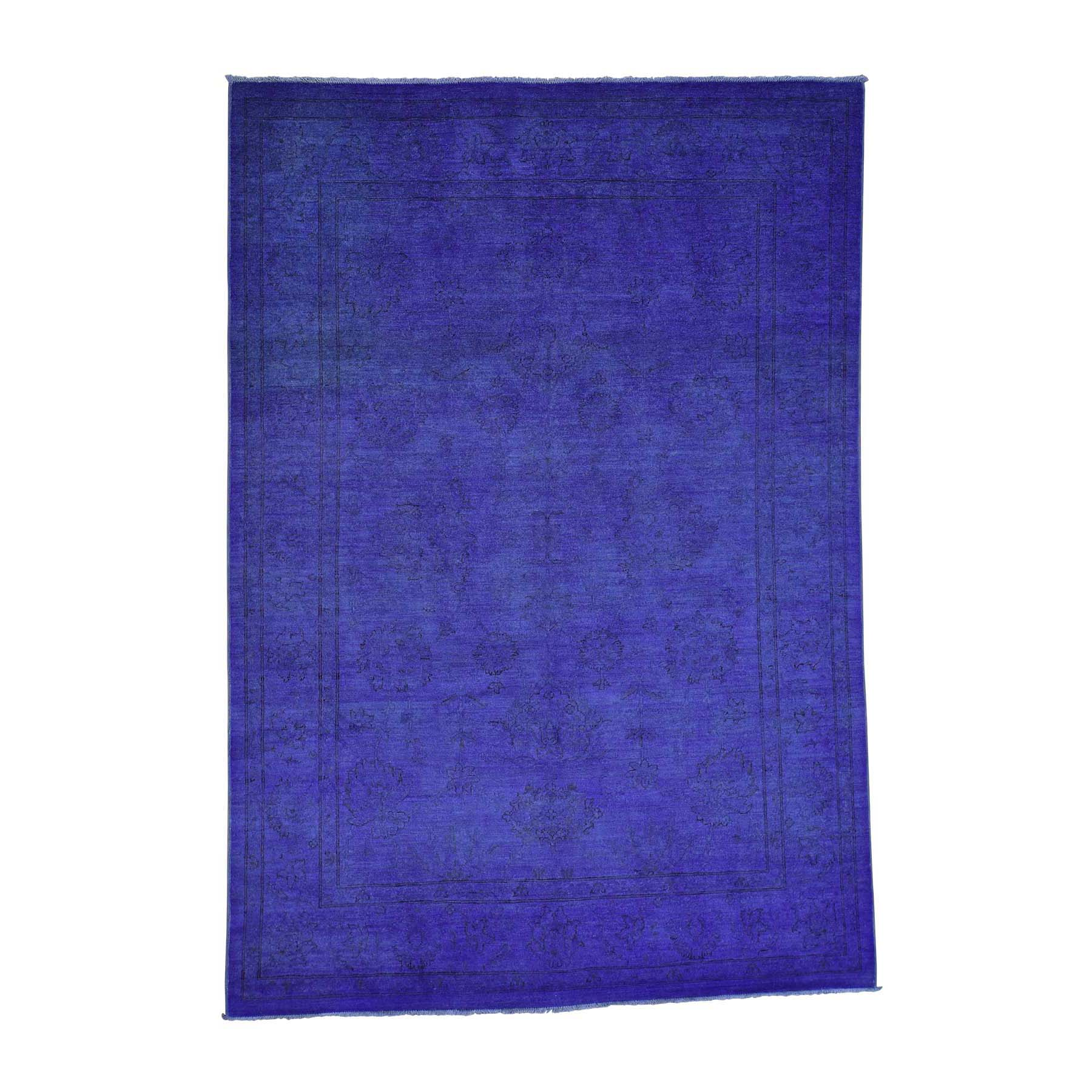 6'X8'7'' Purple Peshawar Overdyed Hand-Knotted Pure Wool Oriental Rug moac7098