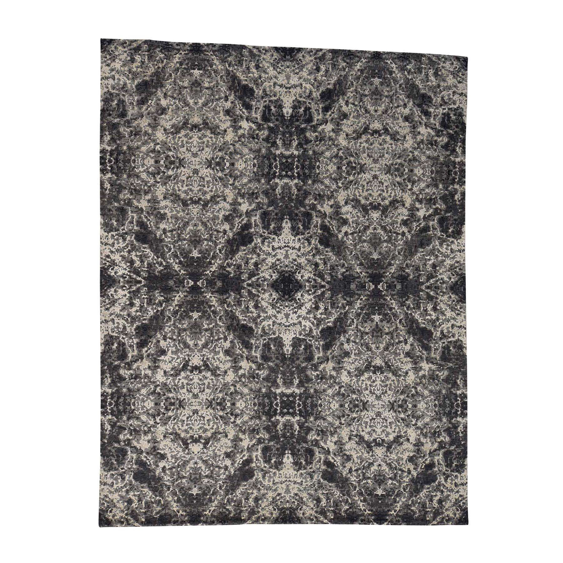 9'2''x12' Hand-Knotted Wool and Silk Abstract Design Modern Rug