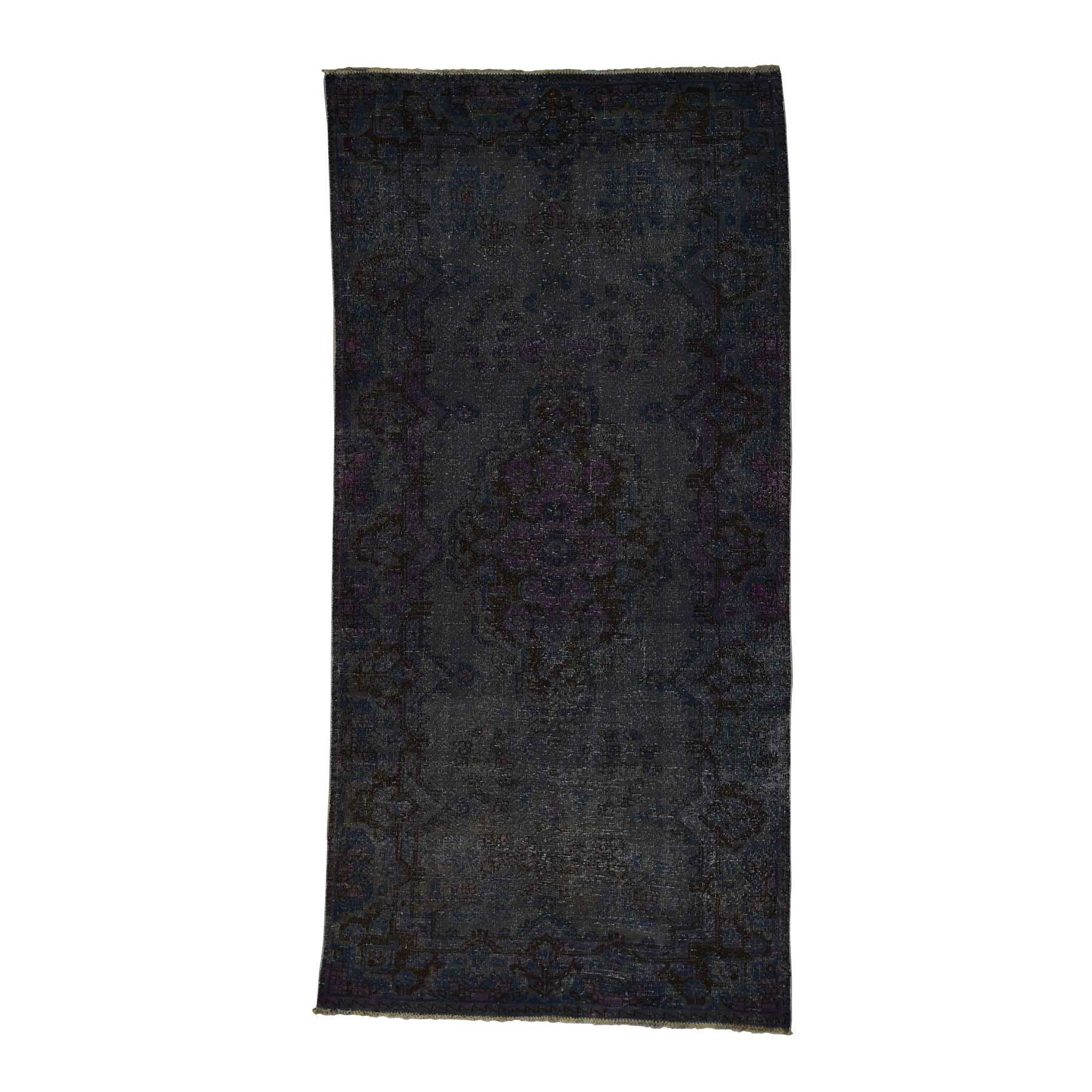 4'10''X9'10'' Persian Overdyed Hamadan Worn Hand-Knotted Wide Runner Rug moac7a9b