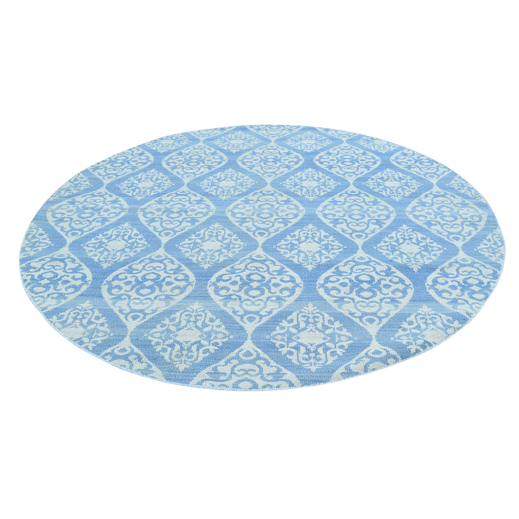 6'X6' Reversible Flat Weave Round Hand Woven Durie Kilim Rug moac7b9a