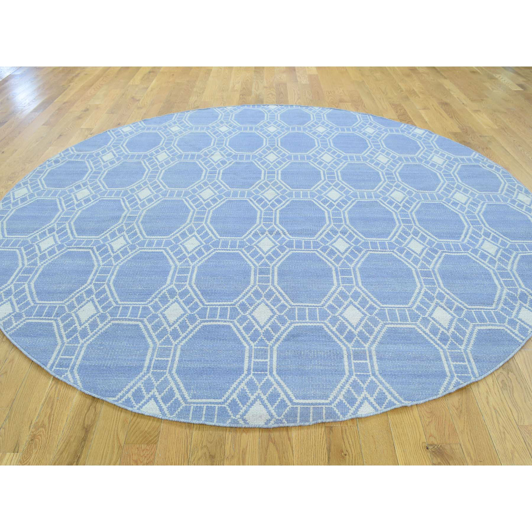 6-x6- Hand-Woven Flat Weave Reversible Durie Kilim Round Rug
