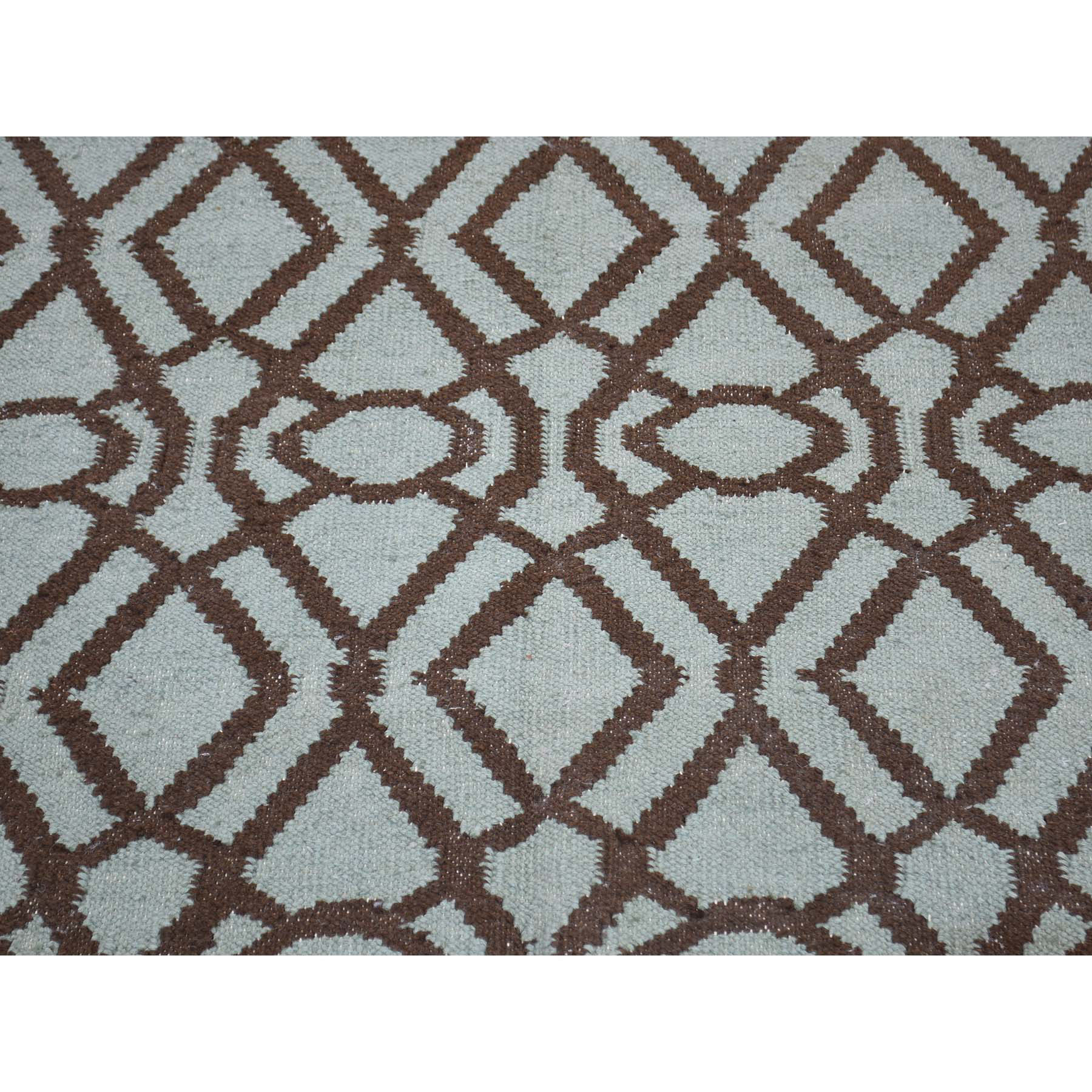 4-2--x5-10-- Pure Wool Hand Woven Grey Durie Kilim Reversible Rug