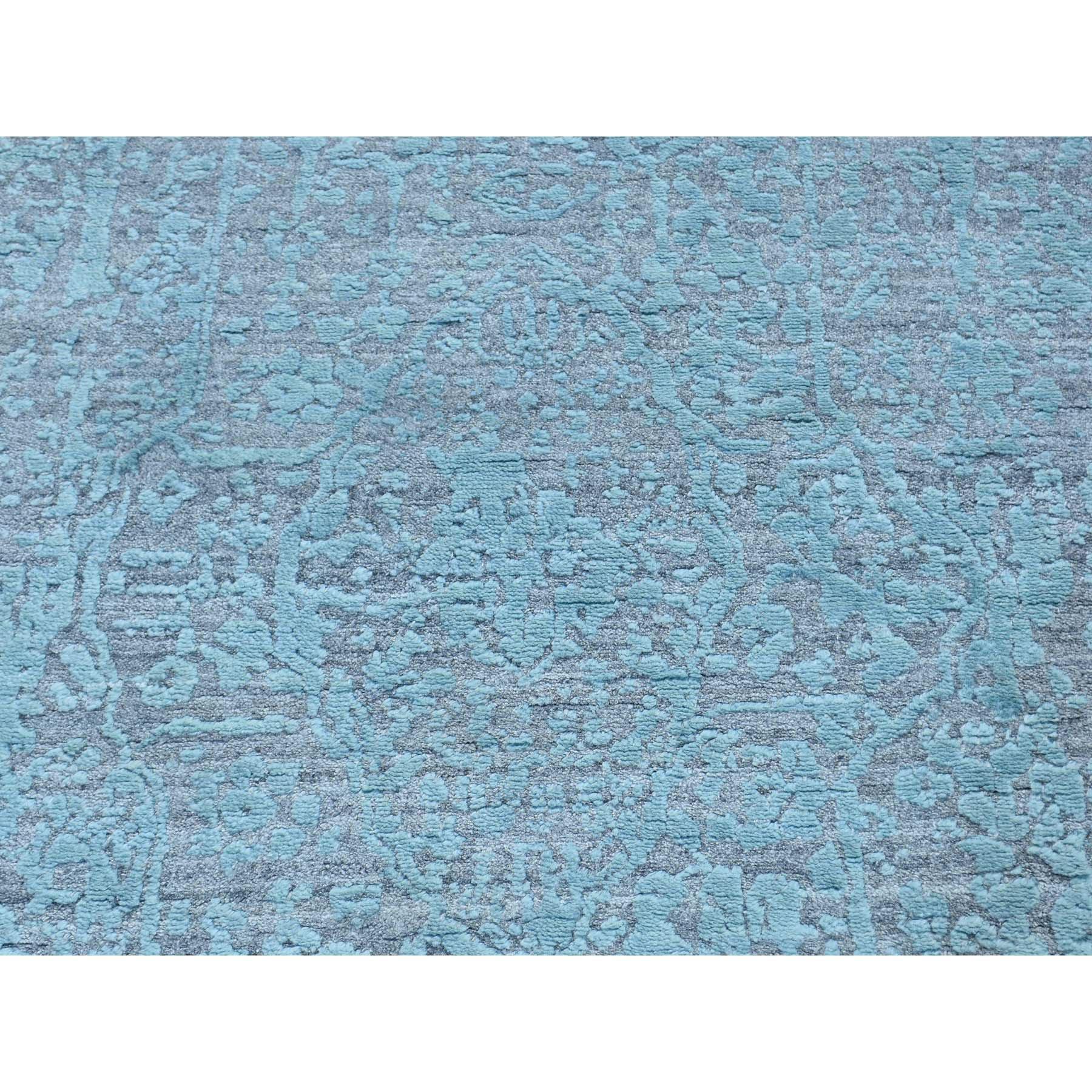 2'6''x10' Broken Persian Design Hand-Knotted Wool and Silk Runner Rug