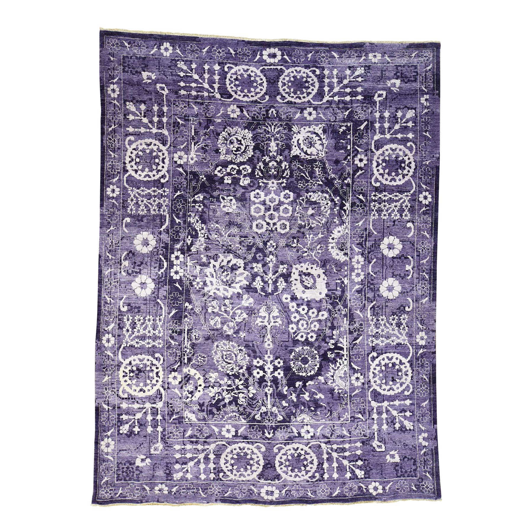 9'X12' Purple Wool And Silk Hand-Knotted Tone On Tone Tabriz Rug moac7eb9