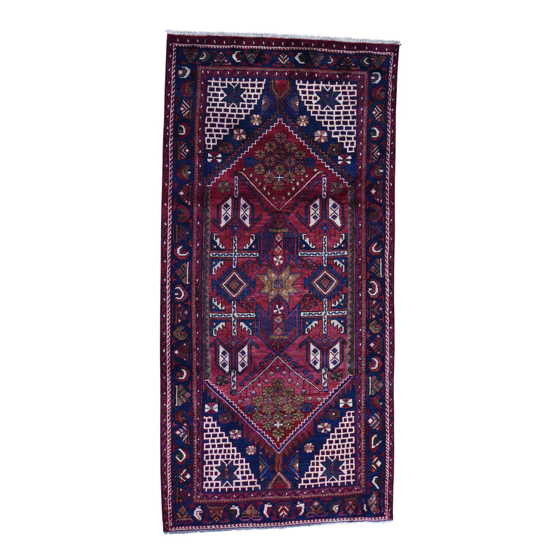 4'3''X9' Semi Antique Persian Hamadan Hand-Made Gallery Size Runner Rug moac77aa