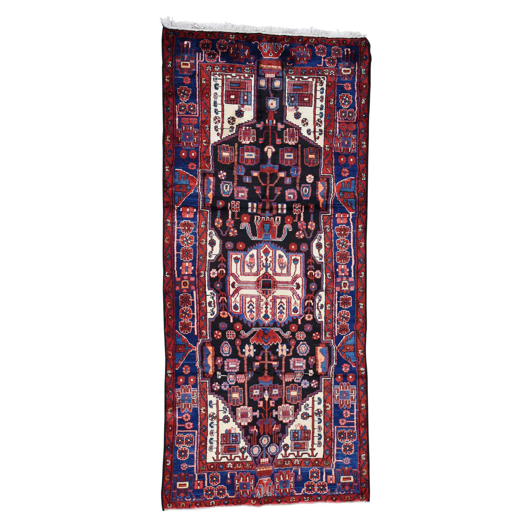 4'2''X9'6'' Hand-Knotted Semi Antique Persian Nahavand Wide Runner Rug moac77ae