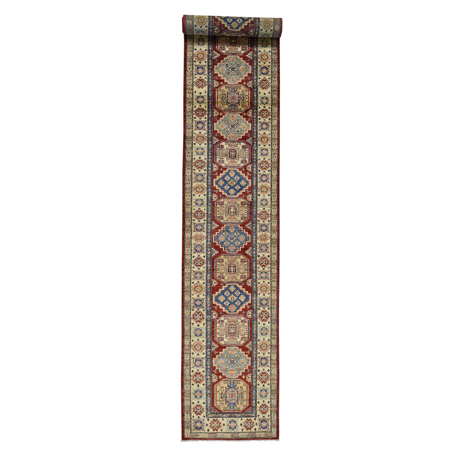 2'10''X19'10'' Hand-Knotted Pure Wool Xl Red Super Kazak Runner Rug moac780d