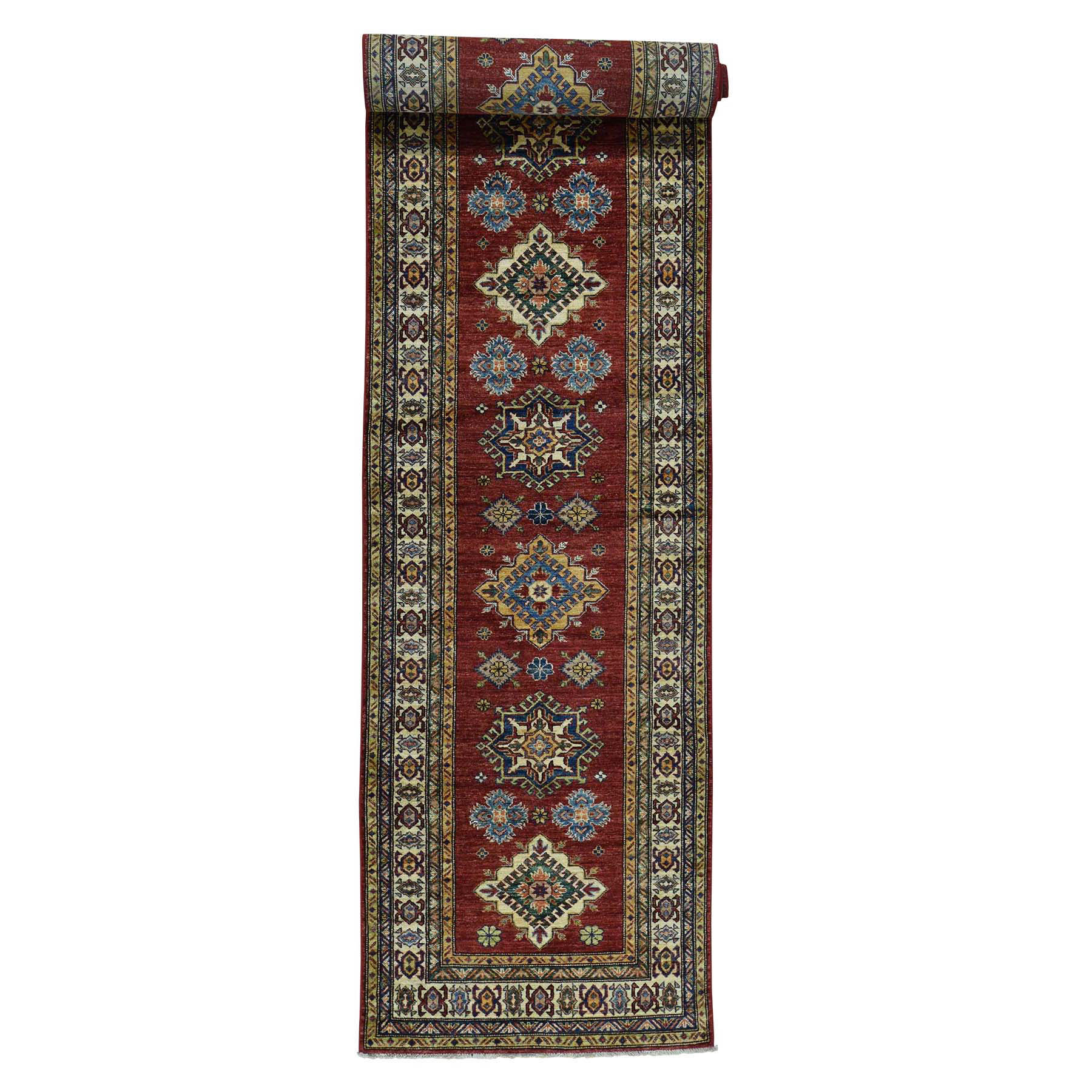 3'4''x18'10'' Hand-Knotted Pure Wool Super Kazak Oriental Wide Runner Rug