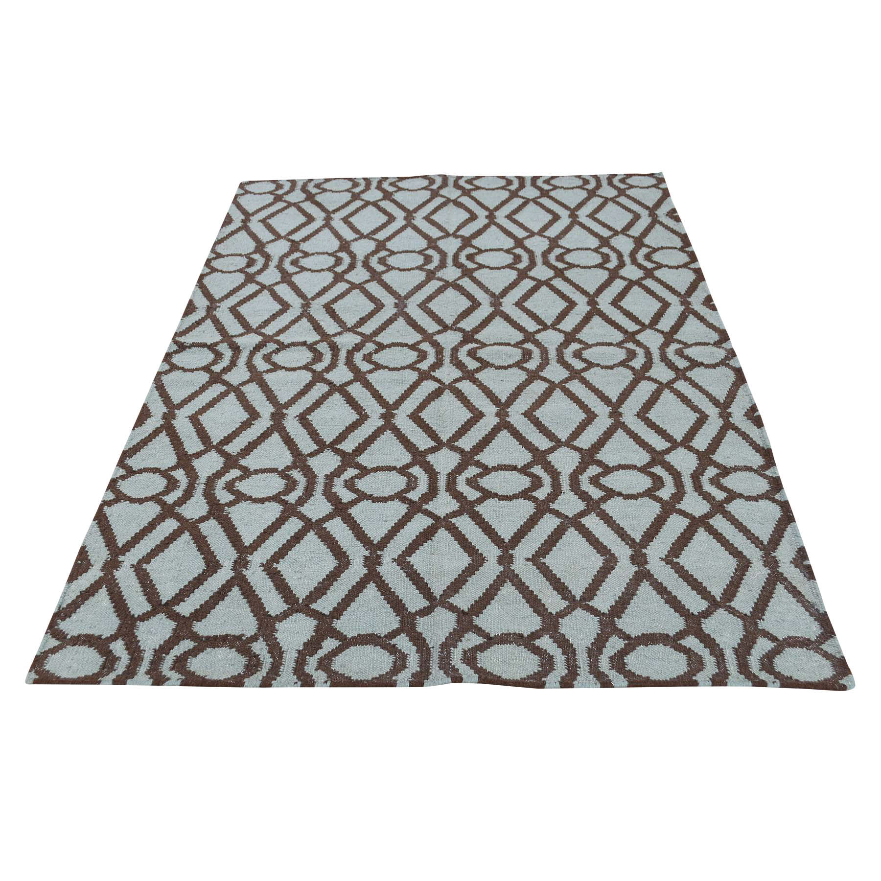 4'3''X5'10'' Hand Woven Light Green Durie Kilim Reversible Flat Weave Rug moac7866