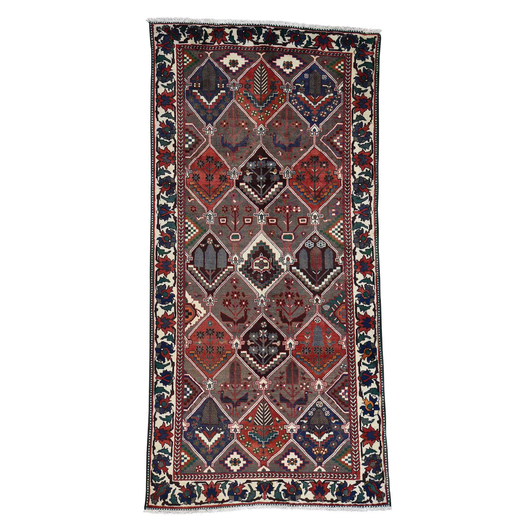 5'3''X10'2'' Semi Antique Persian Bakhtiari Garden Design Wide Runner Rug moac7887