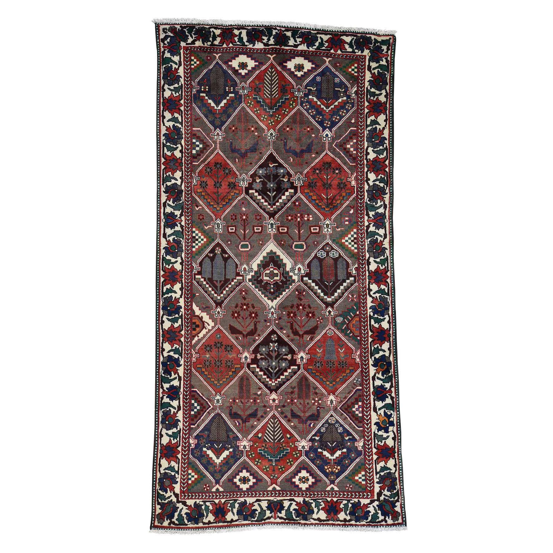 5'3''X10'2'' Semi Antique Persian Bakhtiari Garden Design Wide Runner Rug moac7887