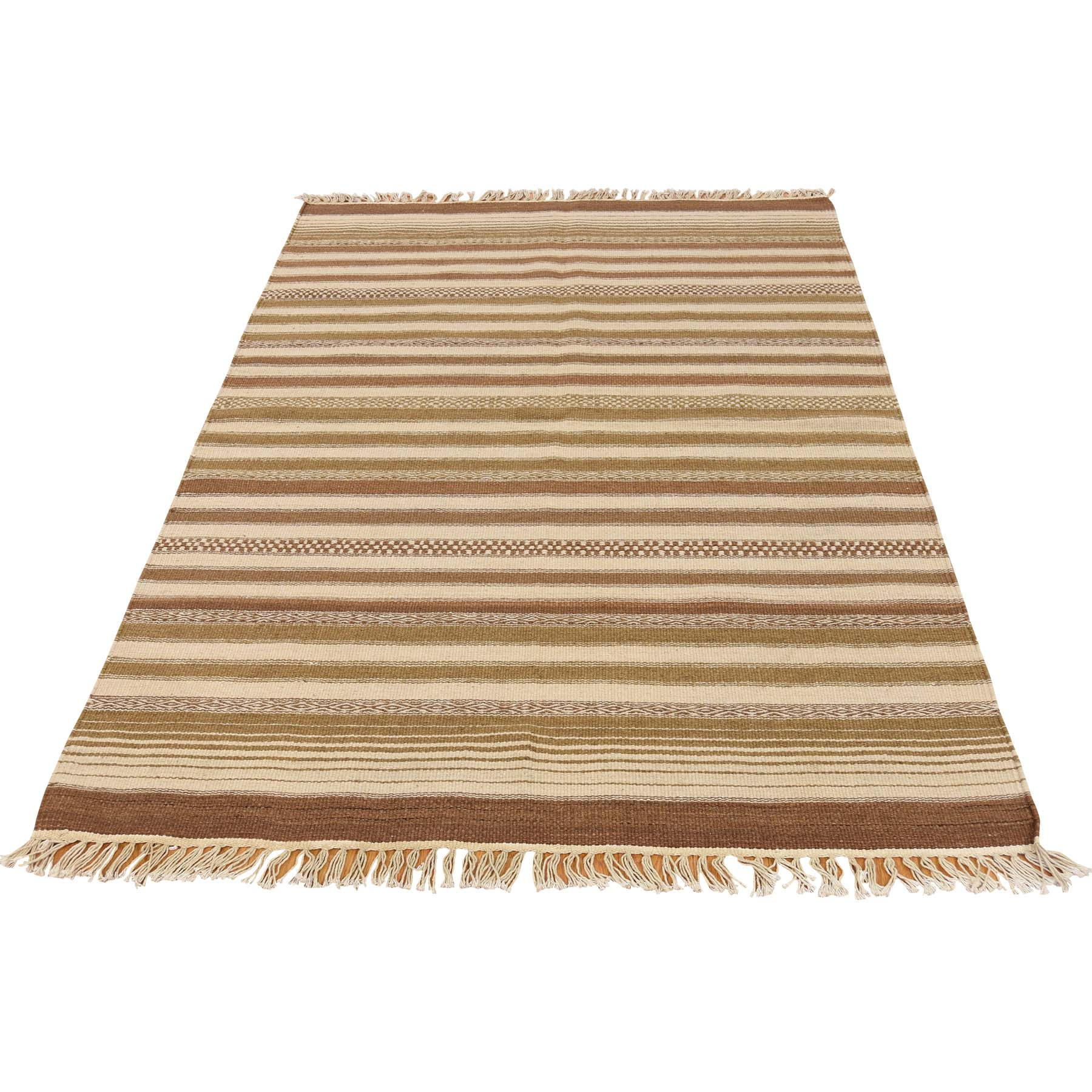 3'9''X5'10'' Striped Durie Kilim Hand Woven Flat Weave Reversible Rug moac79c0