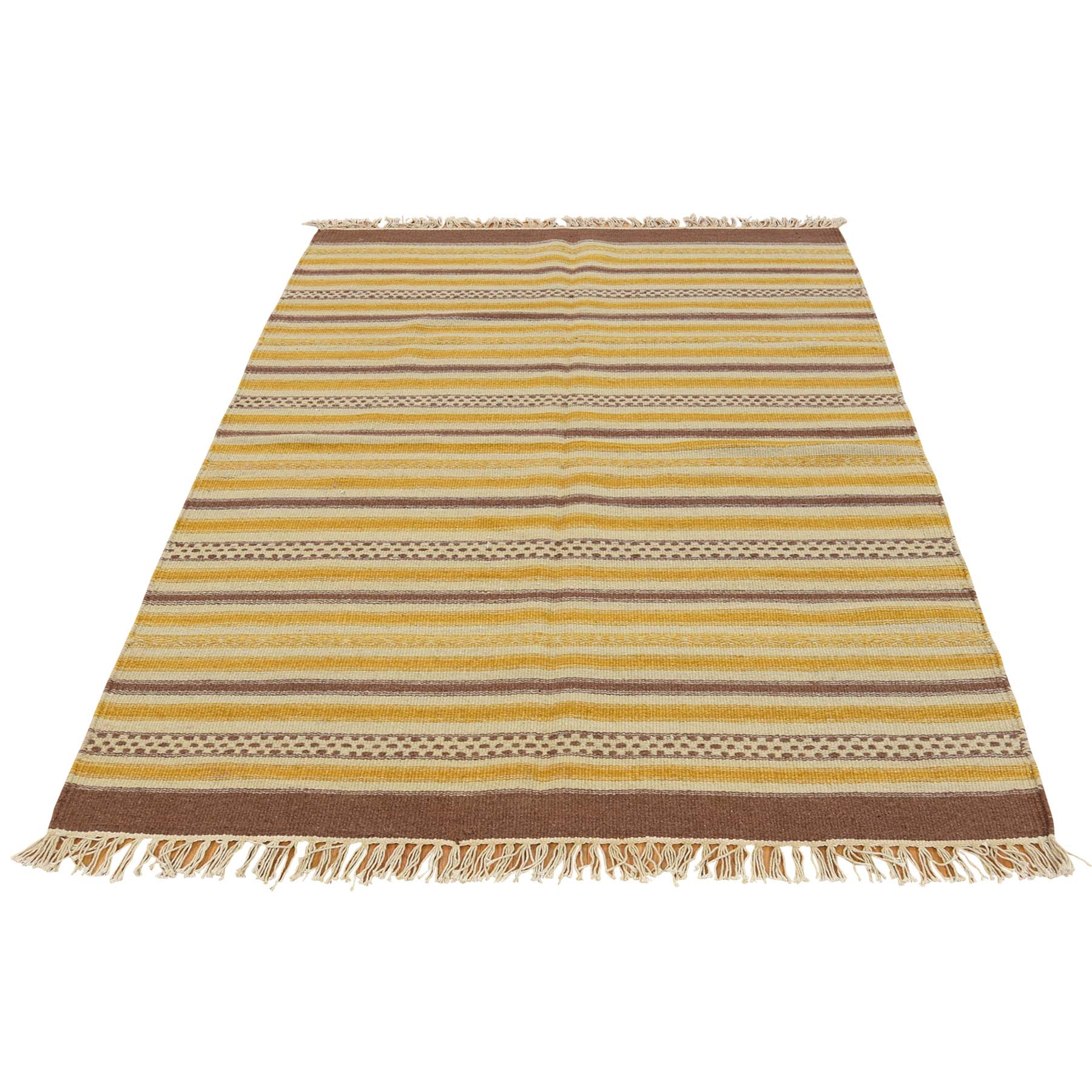 3'10''X6' Striped Flat Weave Durie Kilim Hand Woven Reversible Rug  moac79cb