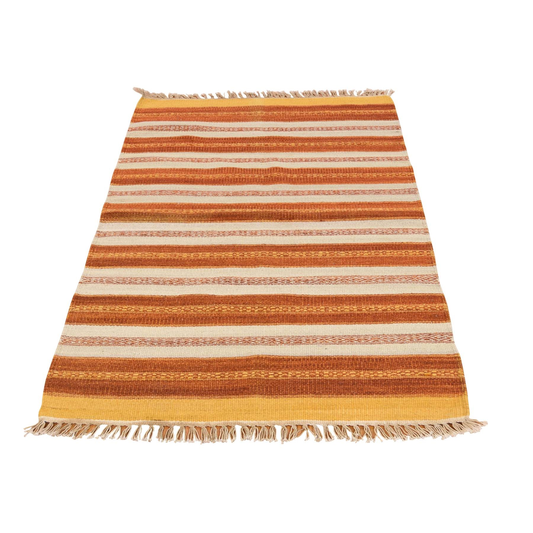 2'10''X4'9'' Flat Weave Hand Woven Striped Durie Kilim Oriental Rug moac79cd
