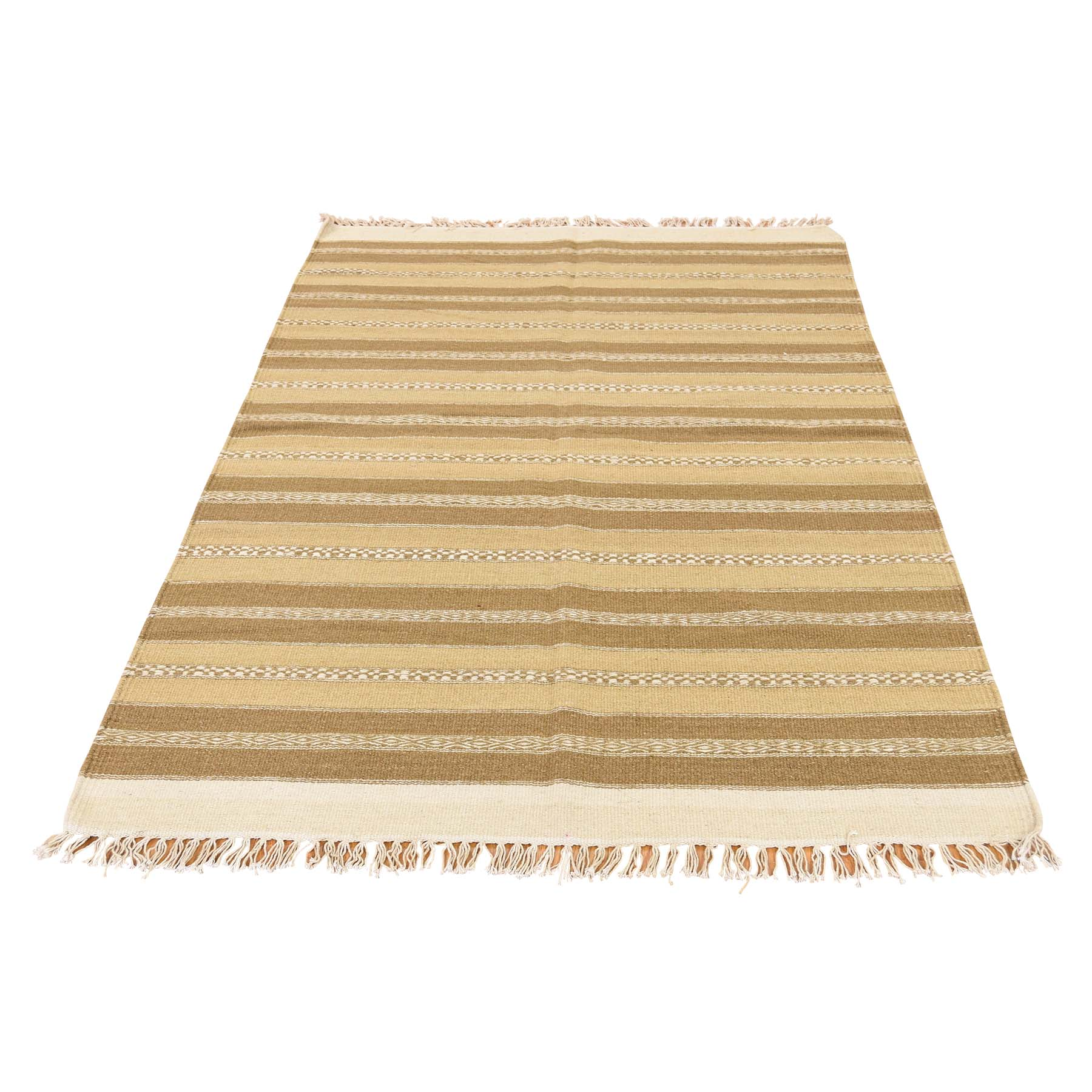 3'9''X6' Reversible Hand Woven Striped Durie Kilim Flat Weave Rug moac7980