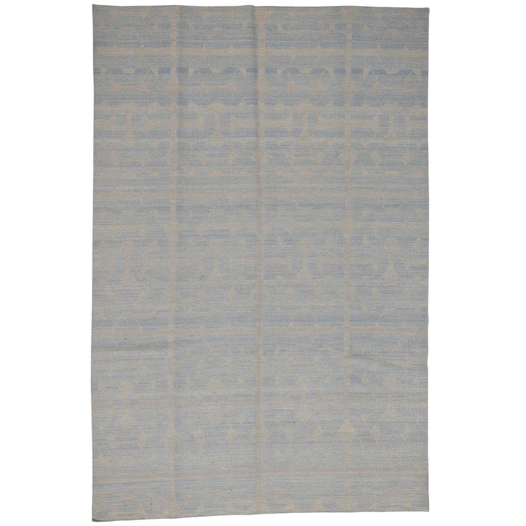 5'X6'10'' Hand-Woven Pure Wool Sky Blue Reversible Kilim Flat Weave Rug moac7999