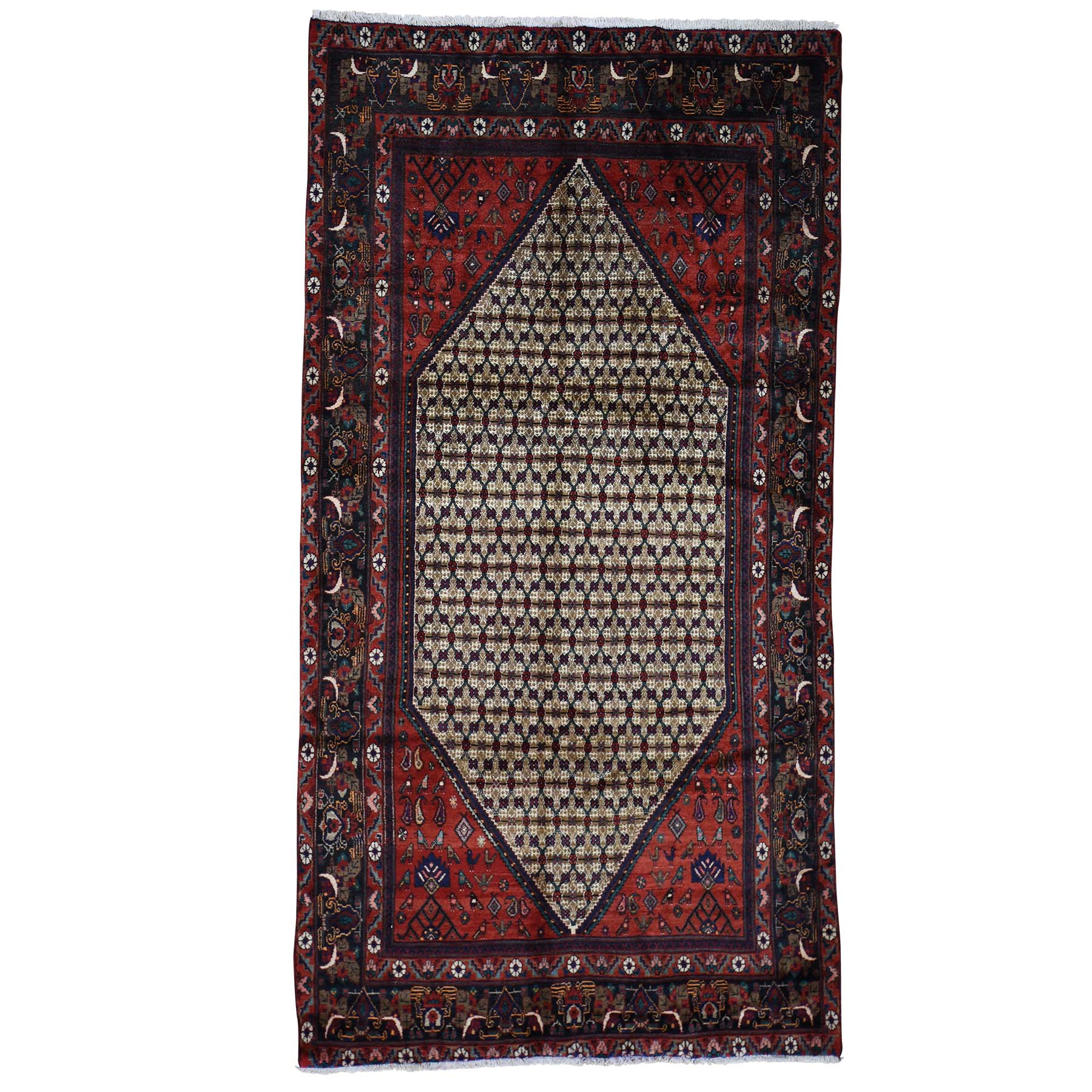 5'4''X10' Hand-Knotted Persian Hamadan Camel Hair Wide Runner Rug moac80a8
