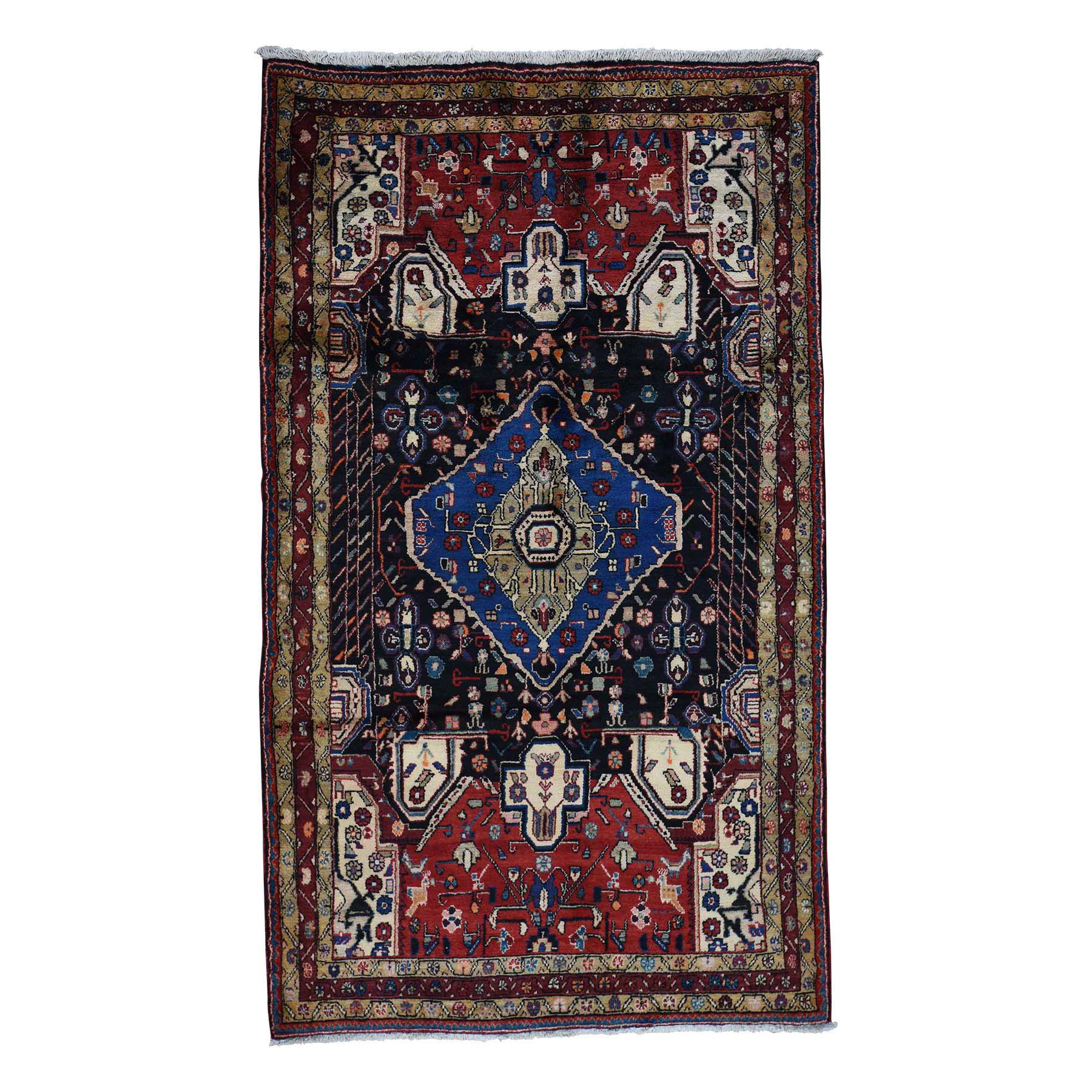 5'3''X9' Persian Nahavand Hand-Knotted Pure Wool Wide Runner Rug moac80bd