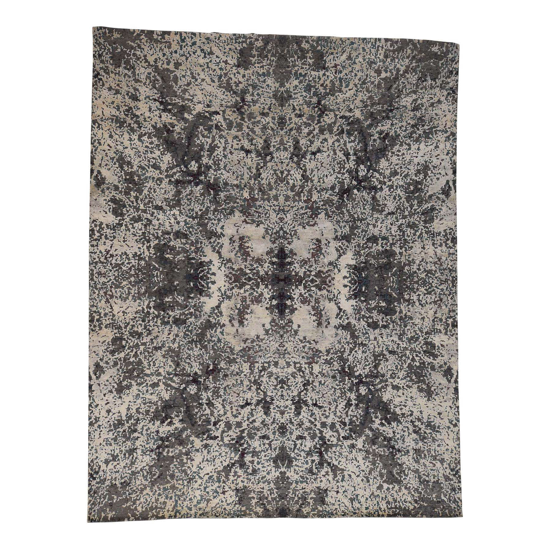 9'10''x13'7'' Hand-Knotted Wool and Silk Abstract Design Modern Rug