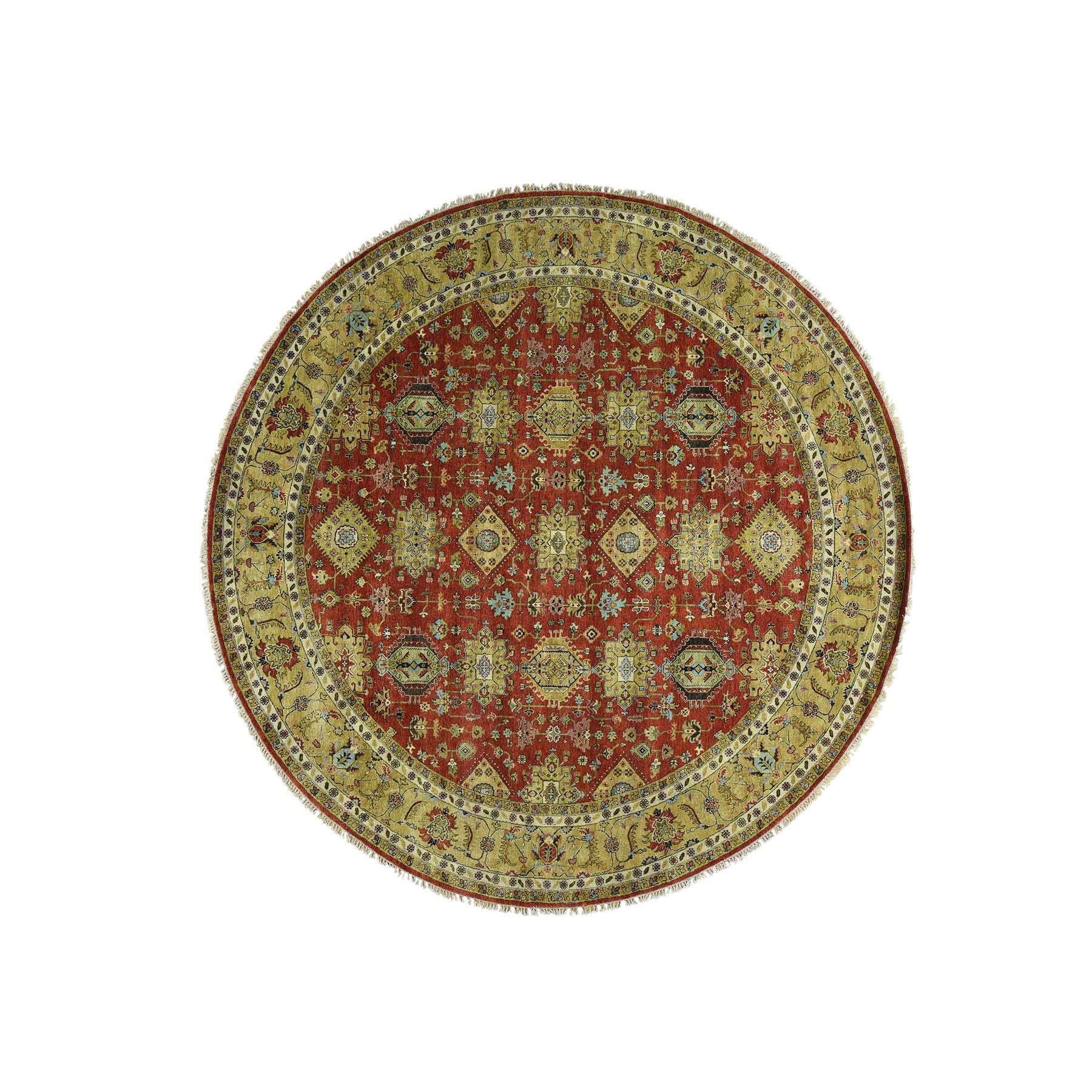 9'10''X9'10'' Hand-Knotted Round Karajeh Pure Wool Oriental Rug moac8a0b